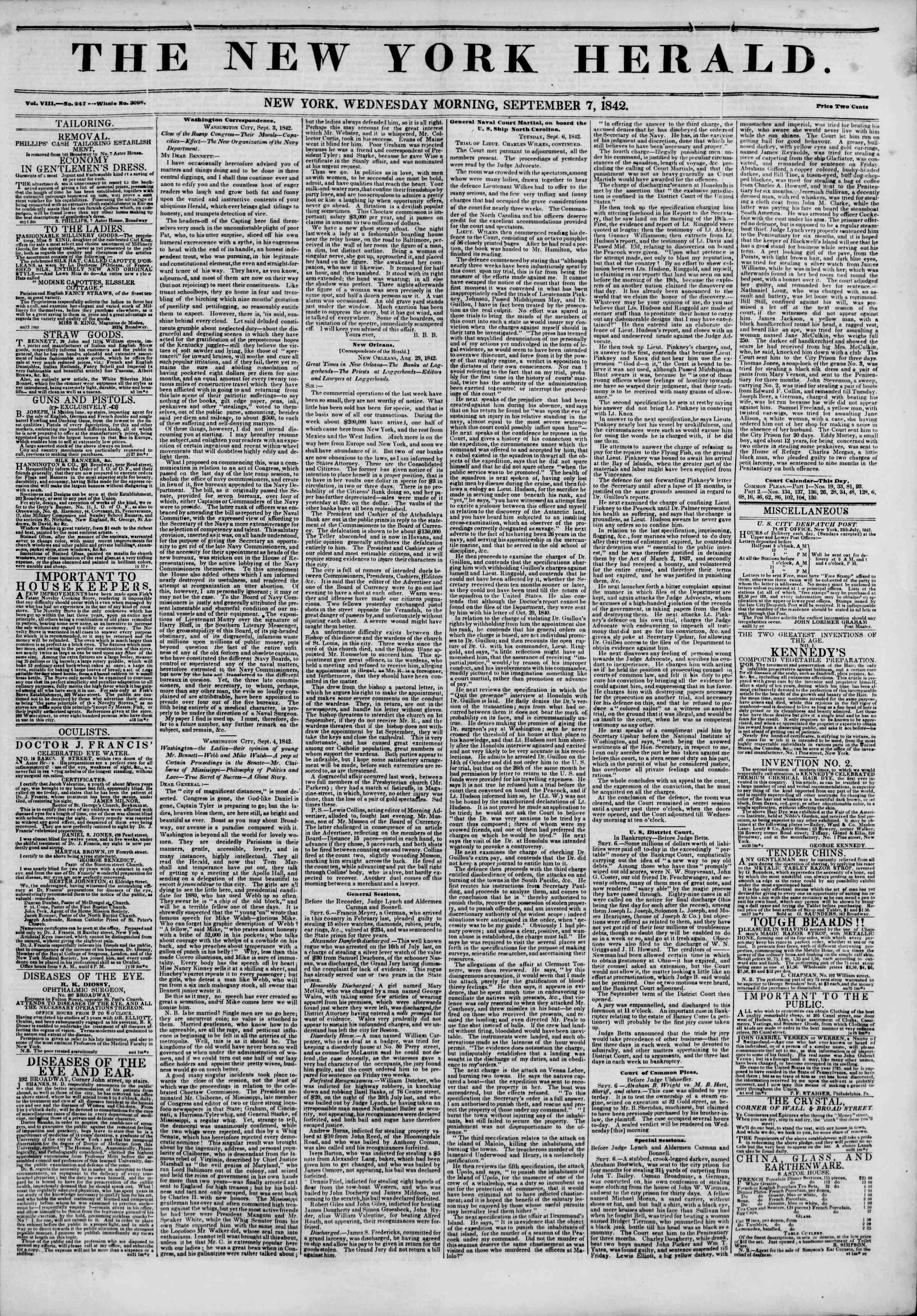 September 7, 1842 Tarihli The New York Herald Gazetesi Sayfa 1