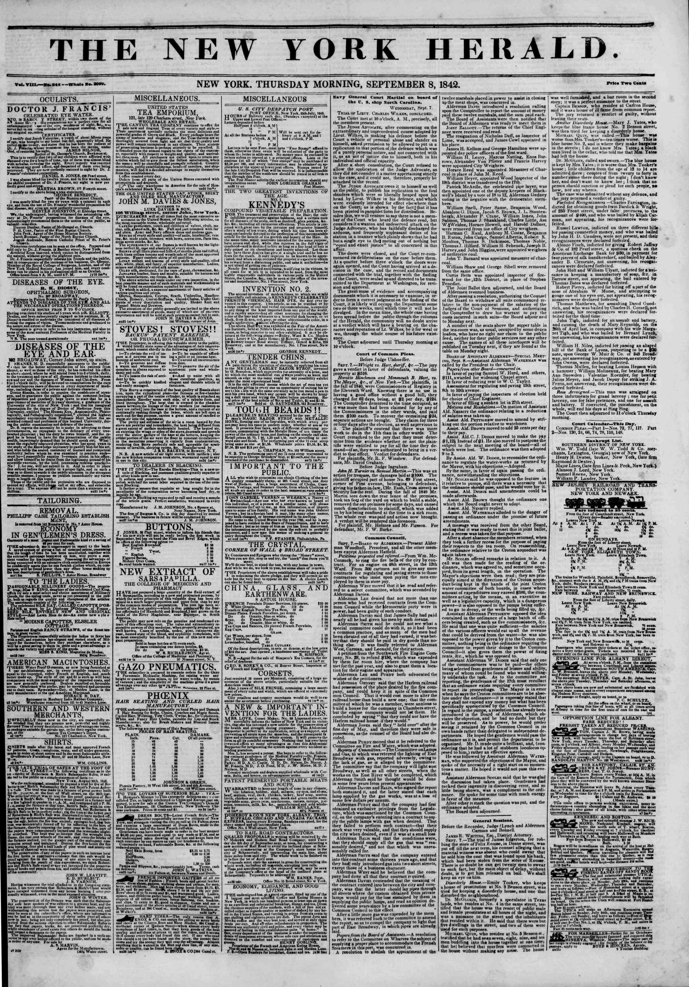 Newspaper of The New York Herald dated September 8, 1842 Page 1