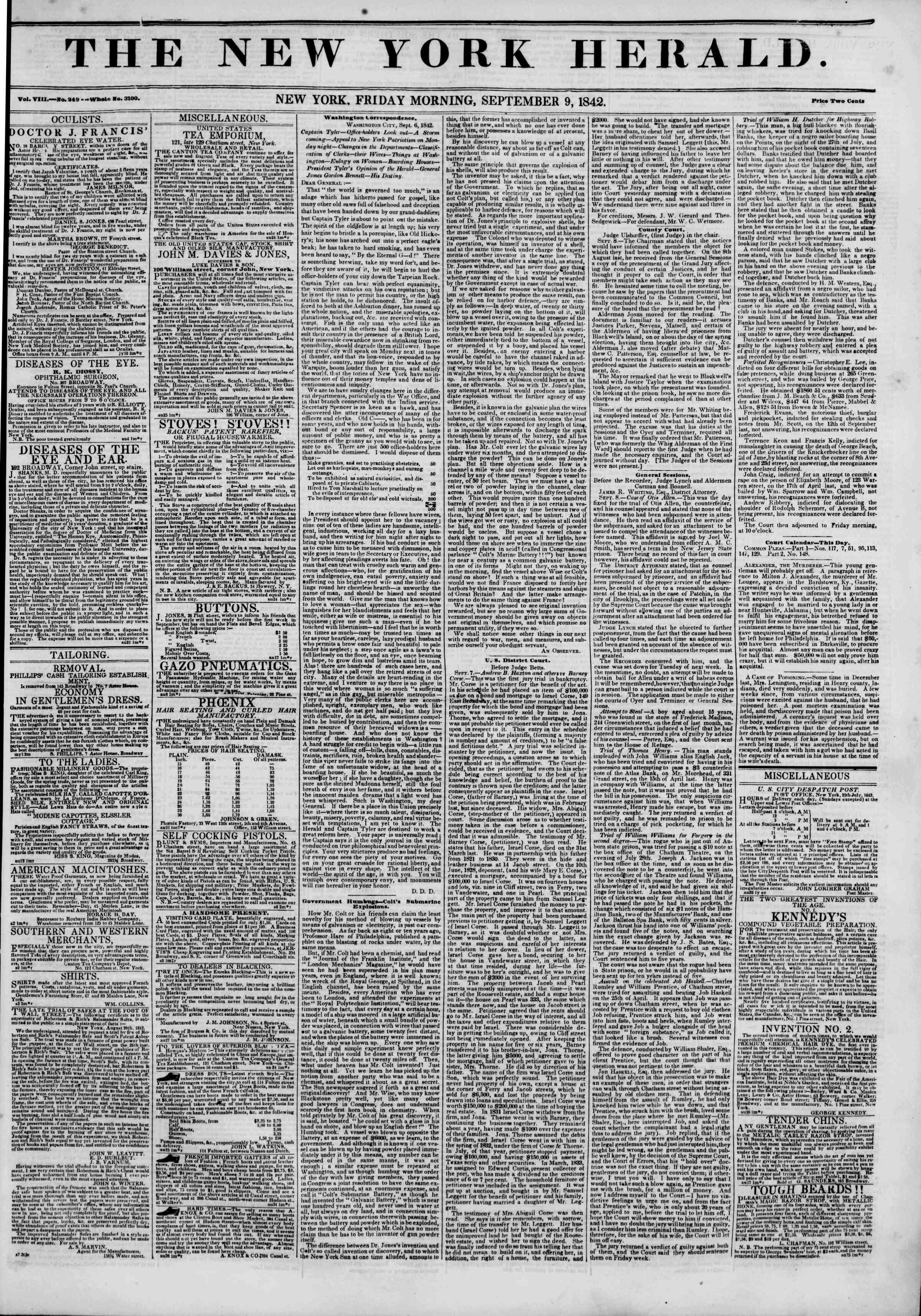 September 9, 1842 Tarihli The New York Herald Gazetesi Sayfa 1