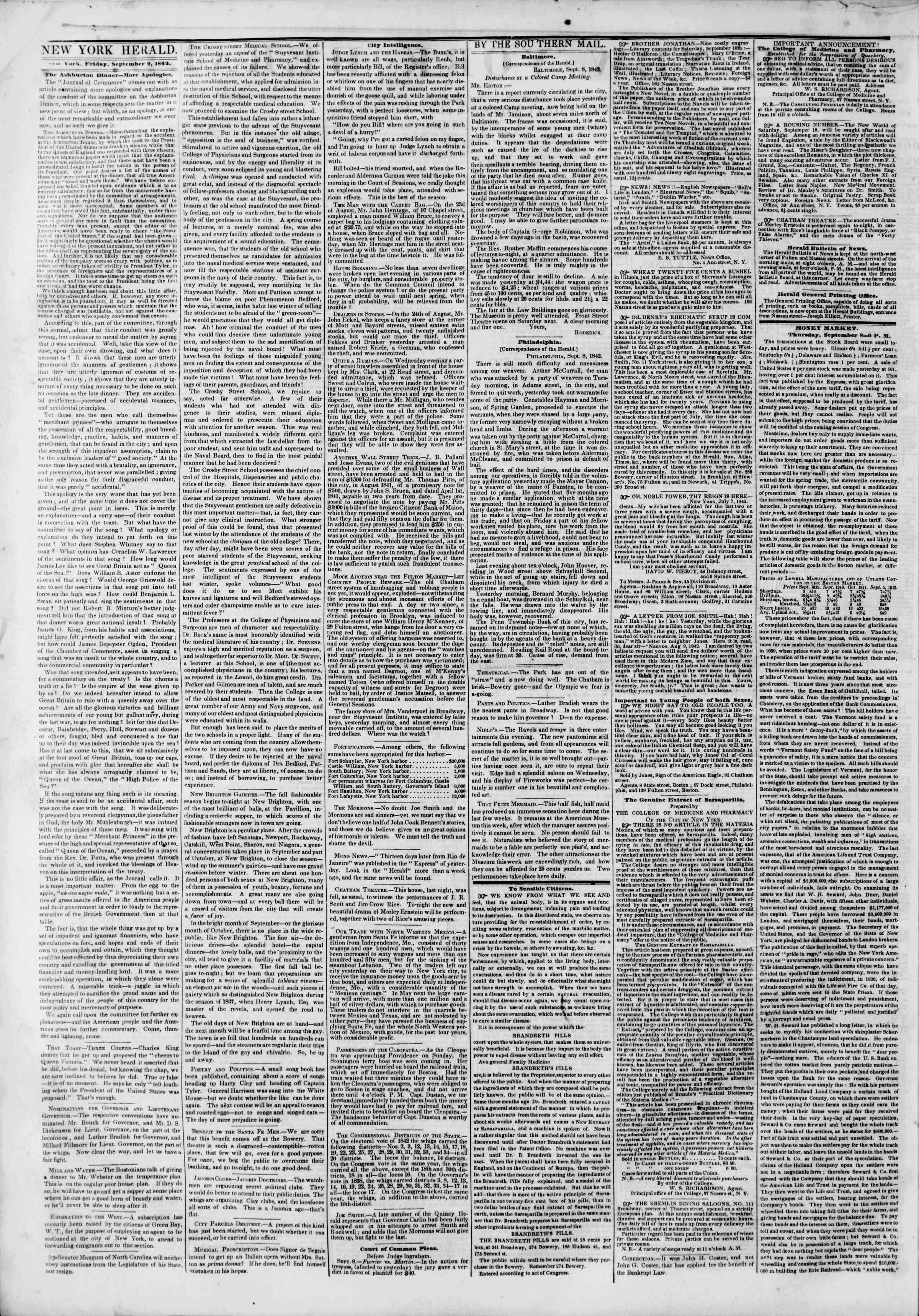 9 Eylül 1842 Tarihli The New York Herald Gazetesi Sayfa 2