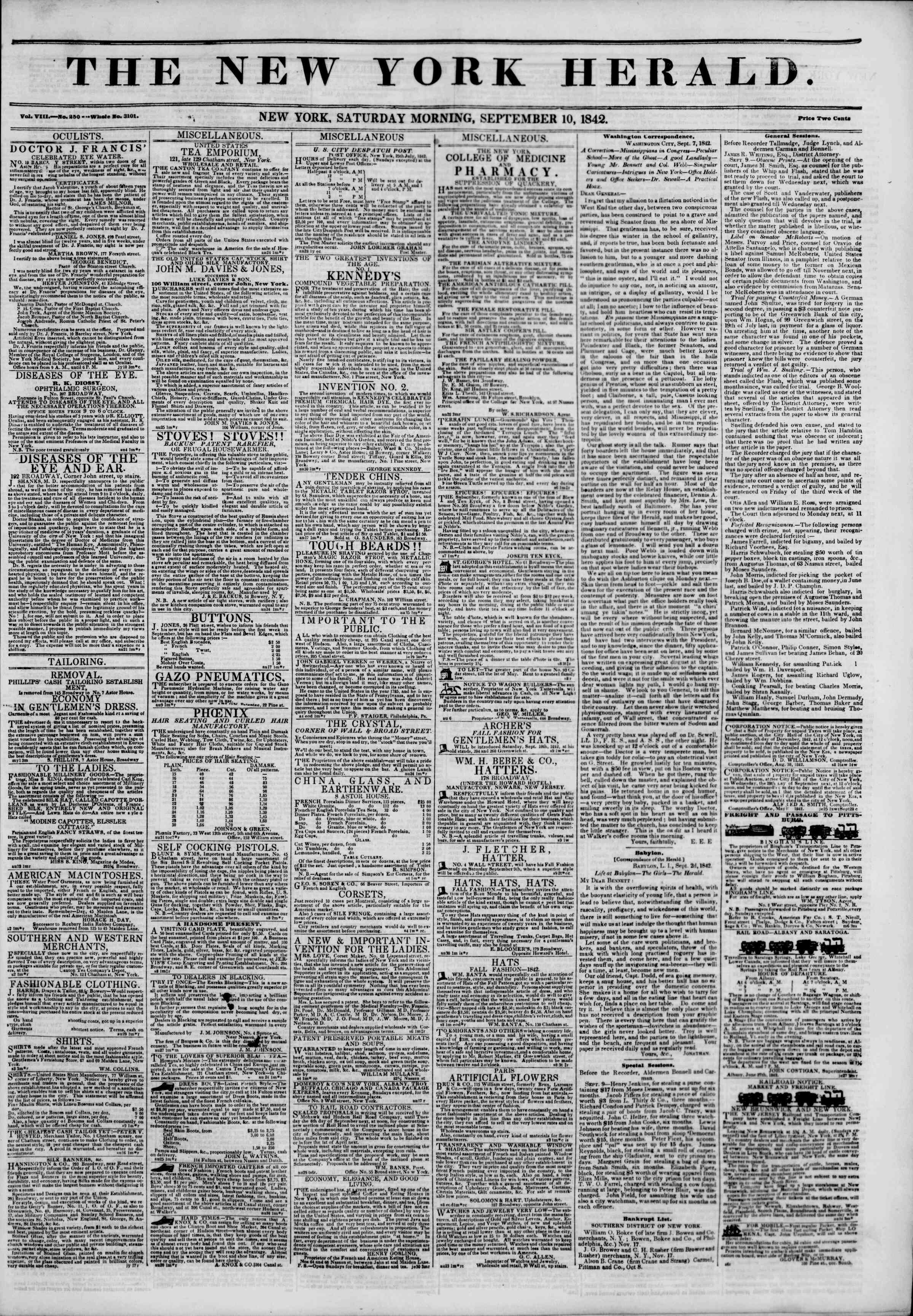 September 10, 1842 Tarihli The New York Herald Gazetesi Sayfa 1
