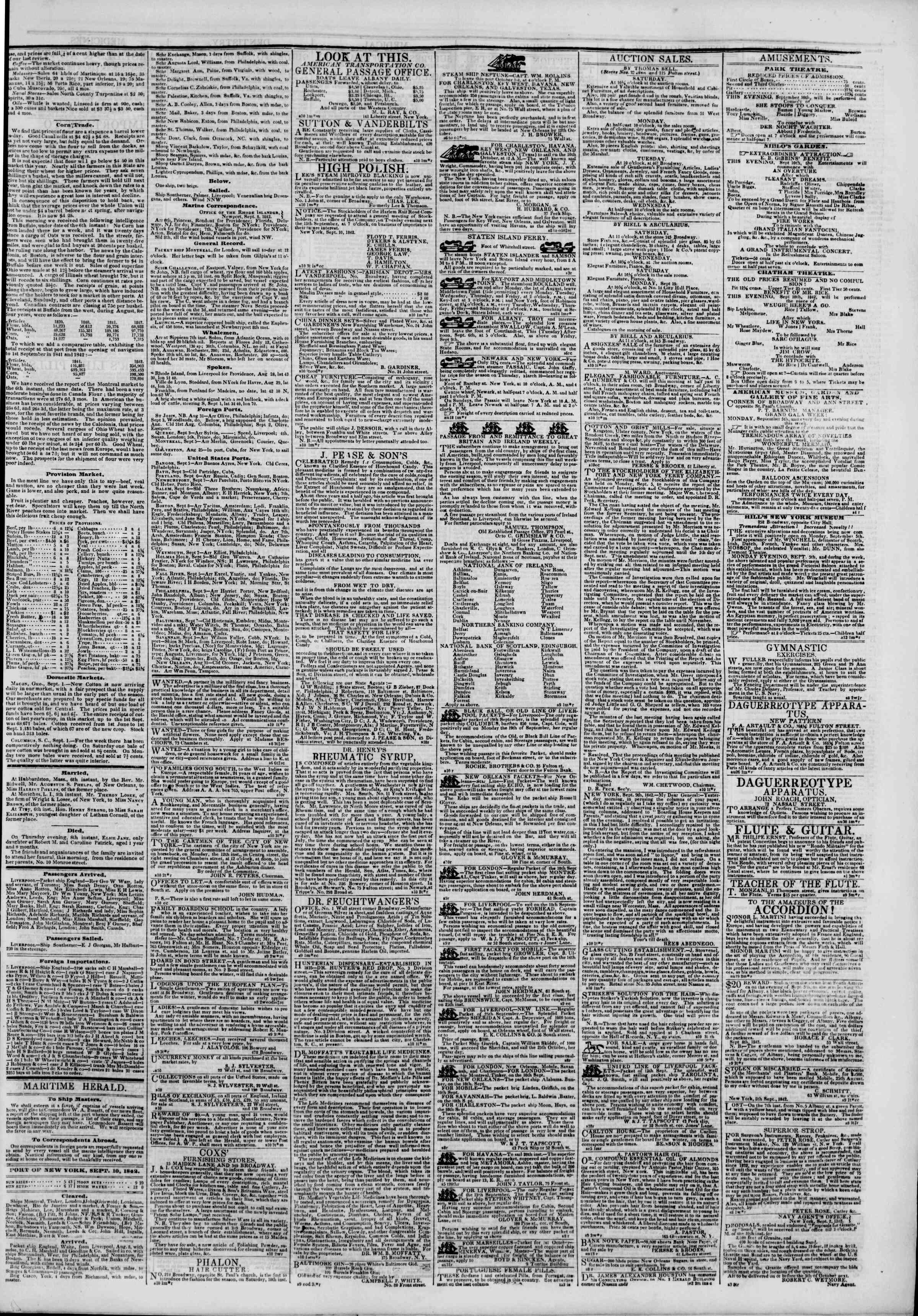 September 10, 1842 Tarihli The New York Herald Gazetesi Sayfa 3