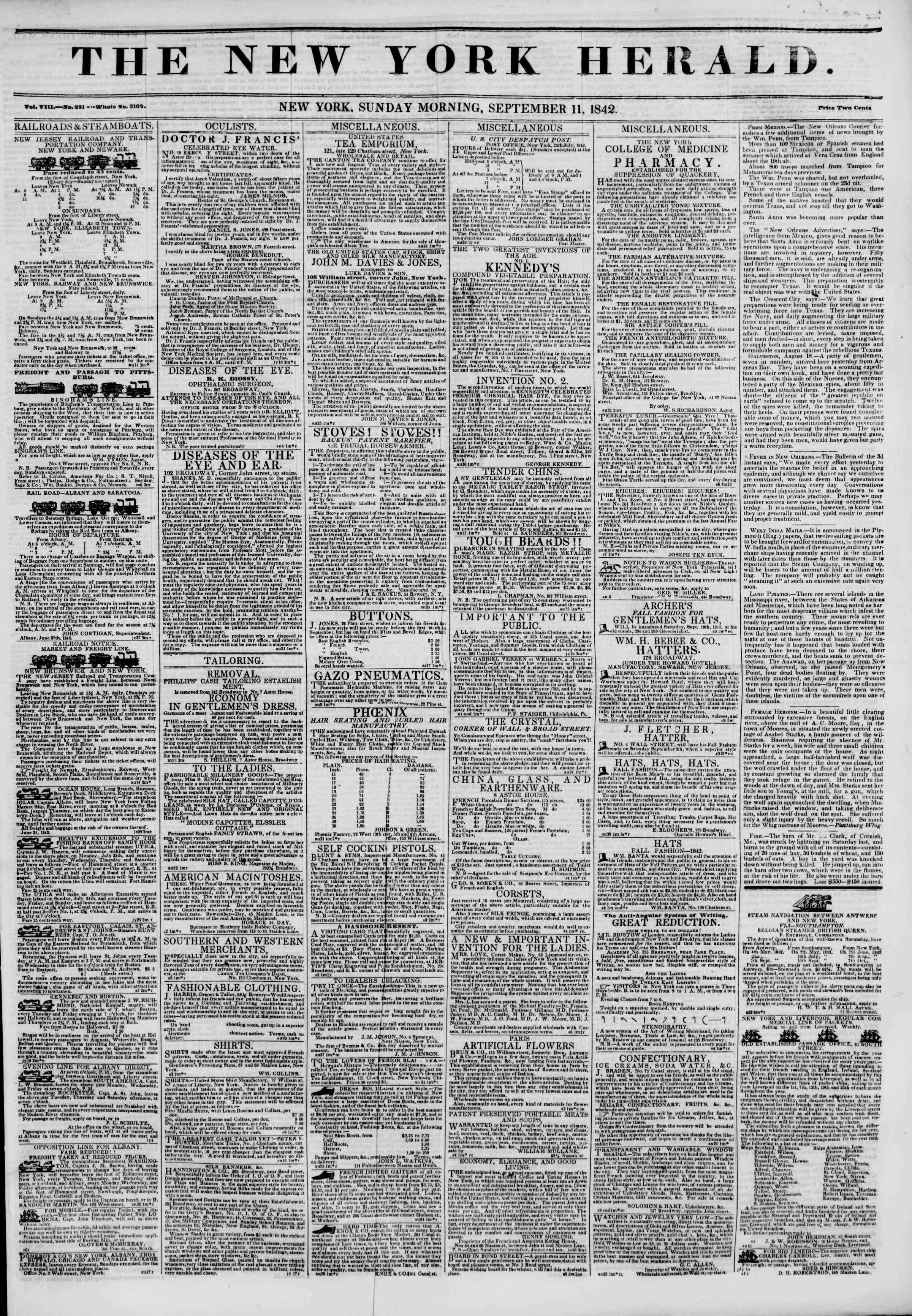 11 Eylül 1842 Tarihli The New York Herald Gazetesi Sayfa 1