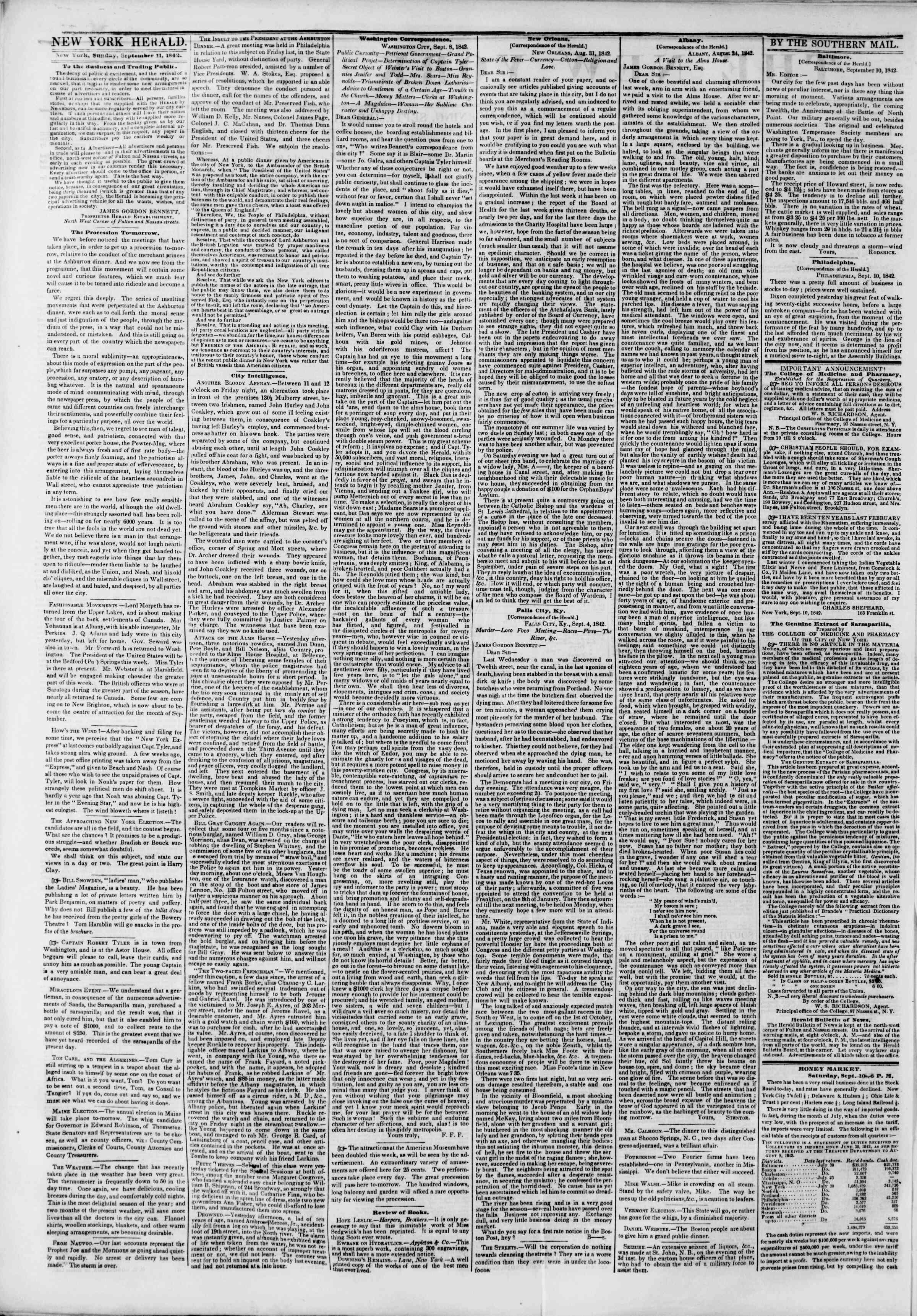 11 Eylül 1842 Tarihli The New York Herald Gazetesi Sayfa 2