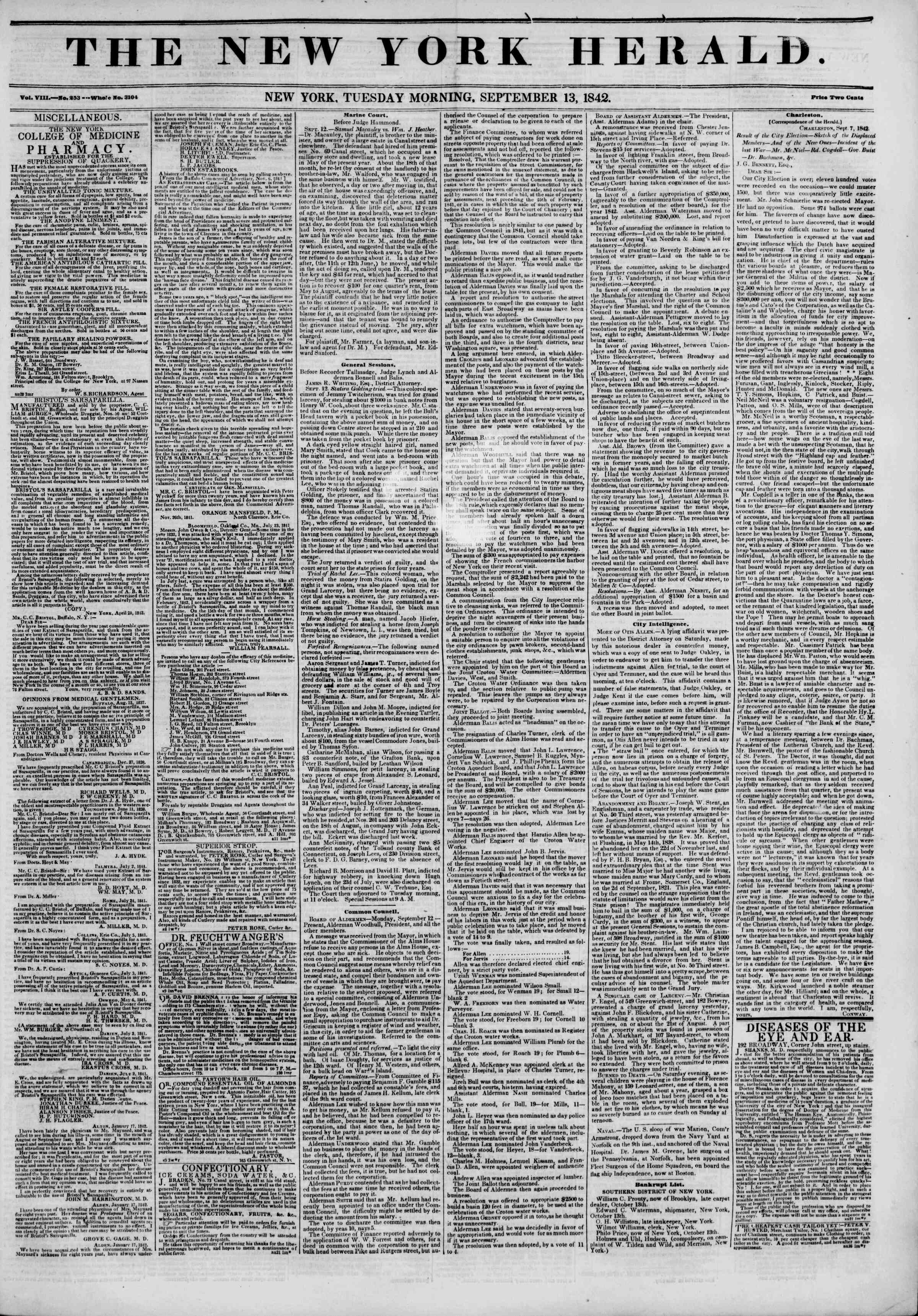 Newspaper of The New York Herald dated September 13, 1842 Page 1