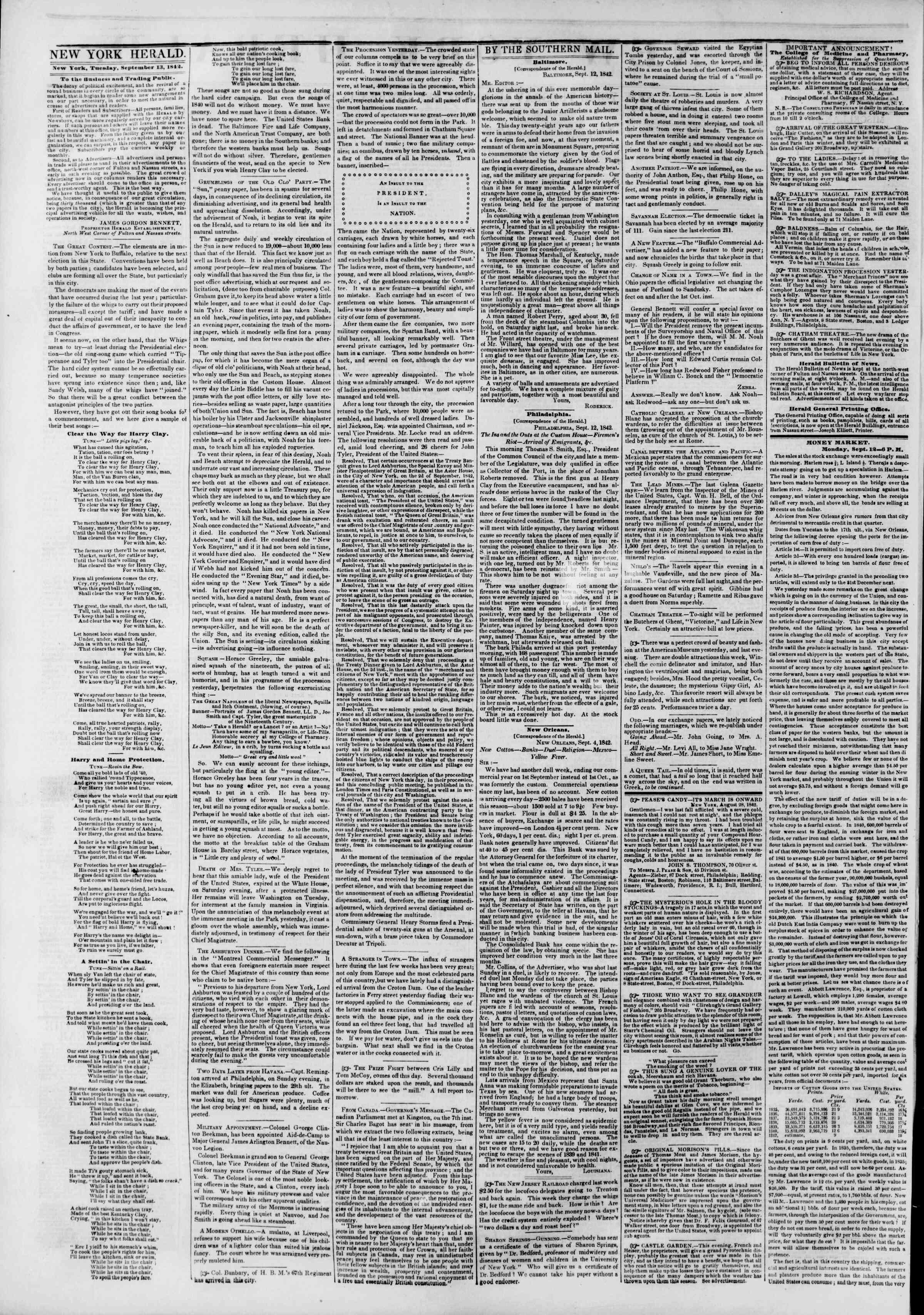 September 13, 1842 Tarihli The New York Herald Gazetesi Sayfa 2