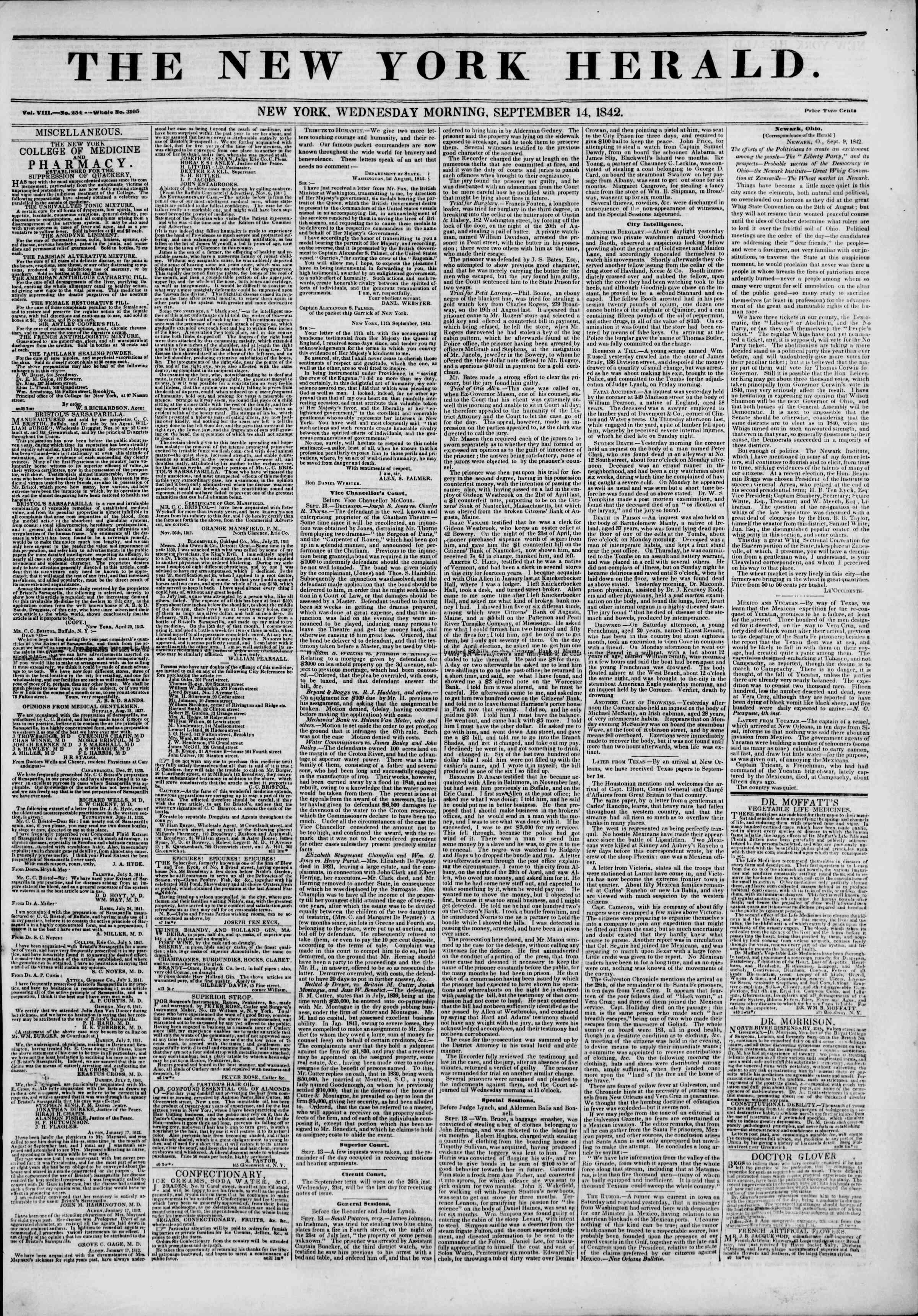 September 14, 1842 Tarihli The New York Herald Gazetesi Sayfa 1