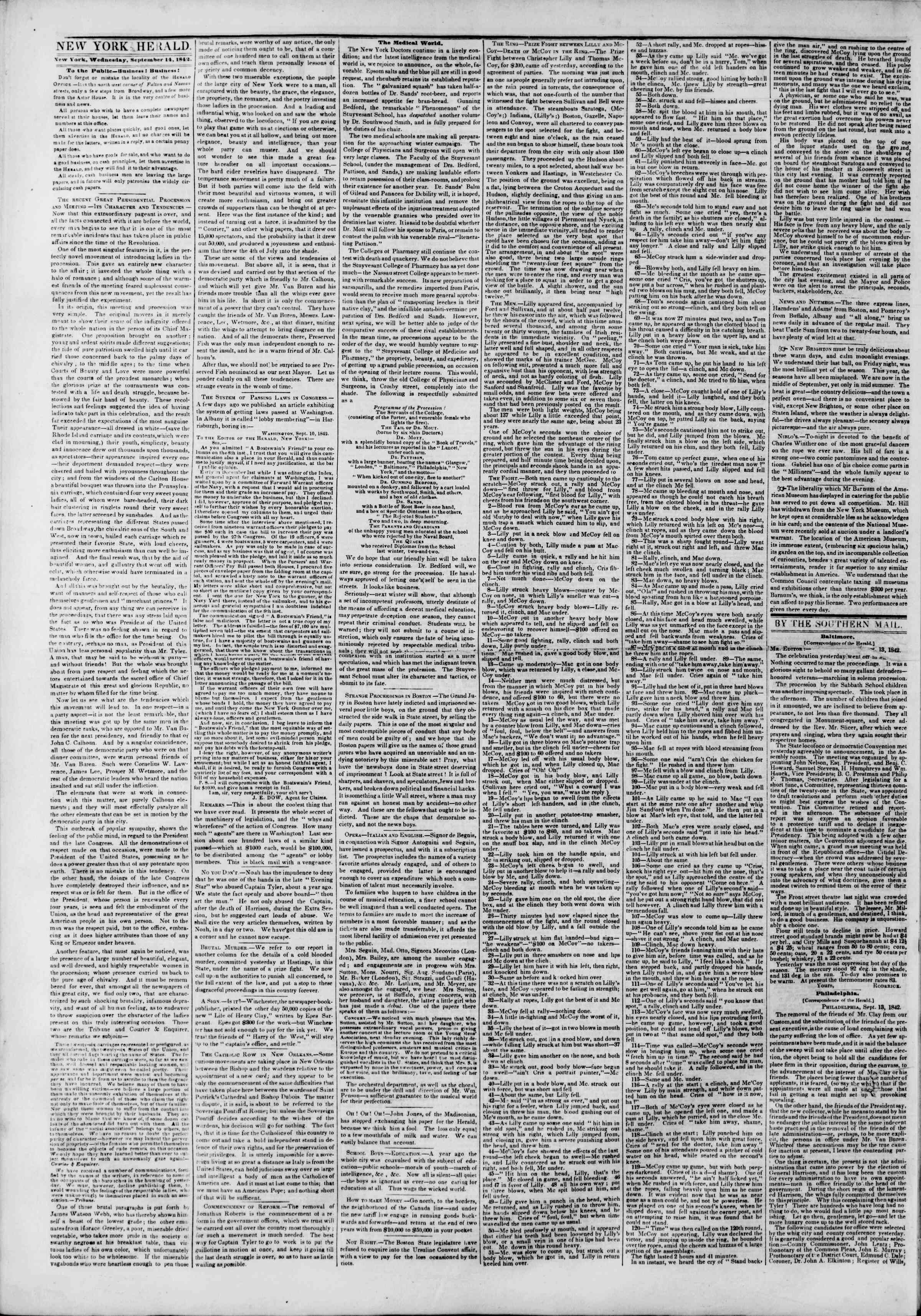 Newspaper of The New York Herald dated September 14, 1842 Page 2