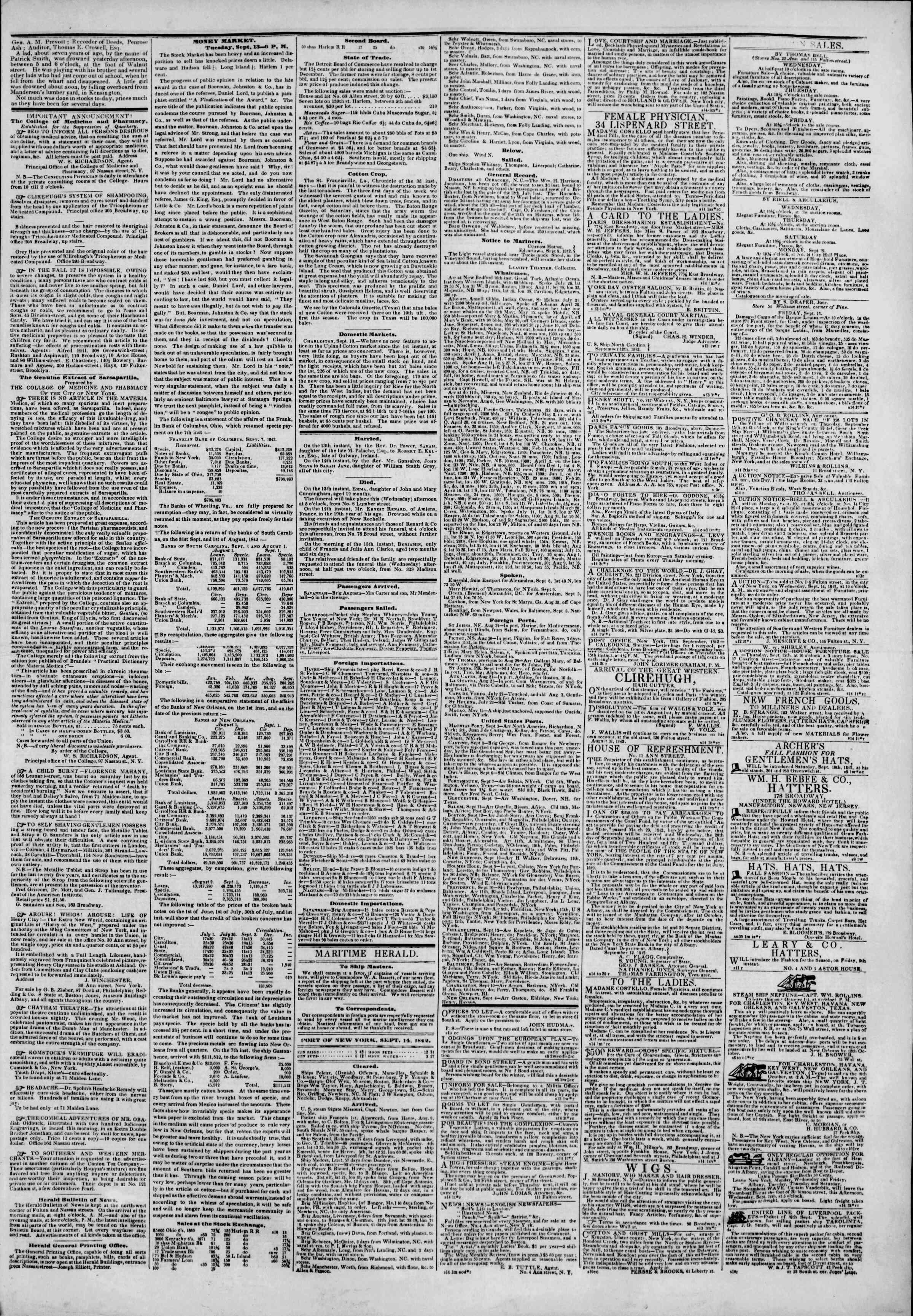 September 14, 1842 Tarihli The New York Herald Gazetesi Sayfa 3