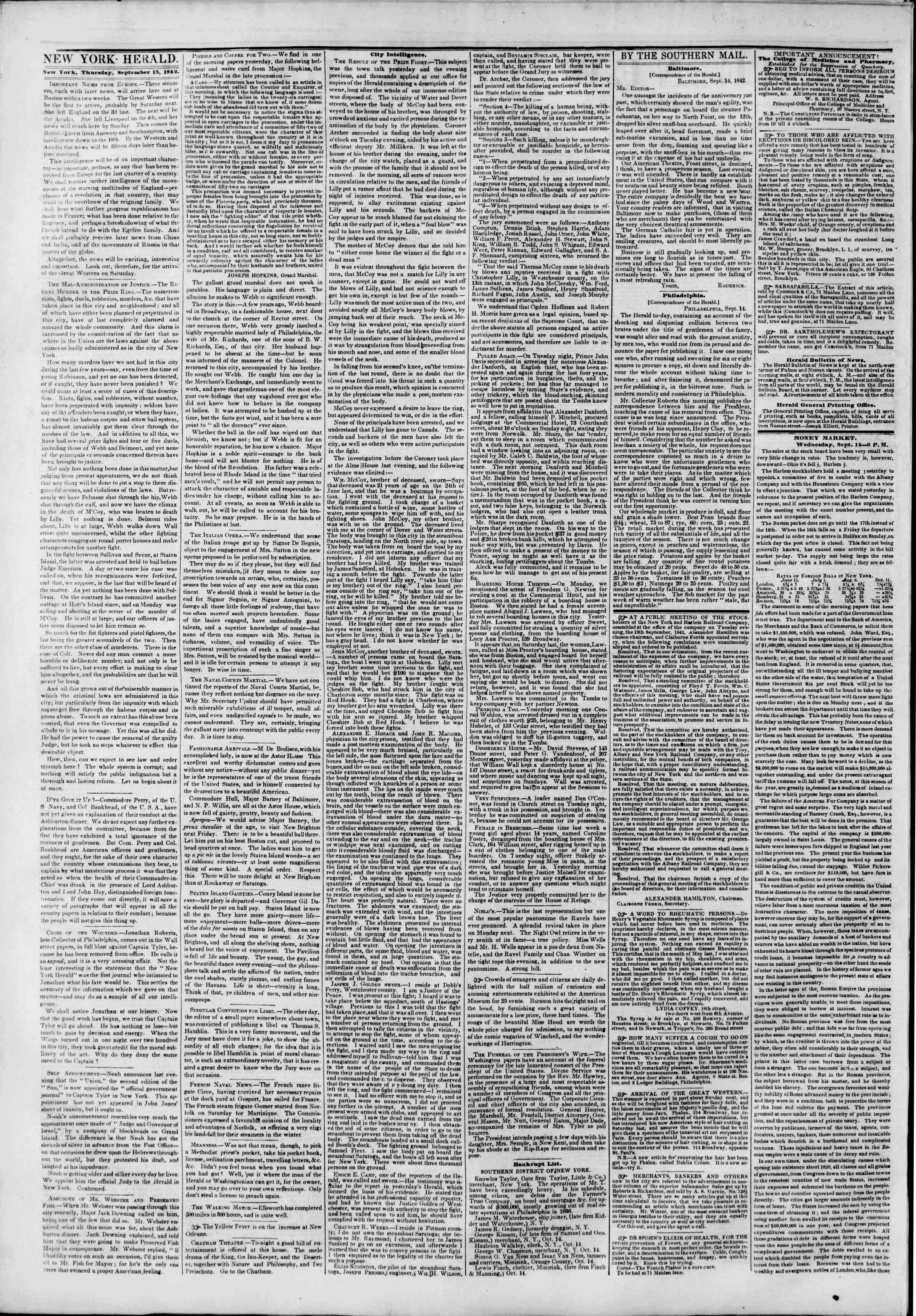 Newspaper of The New York Herald dated September 15, 1842 Page 2