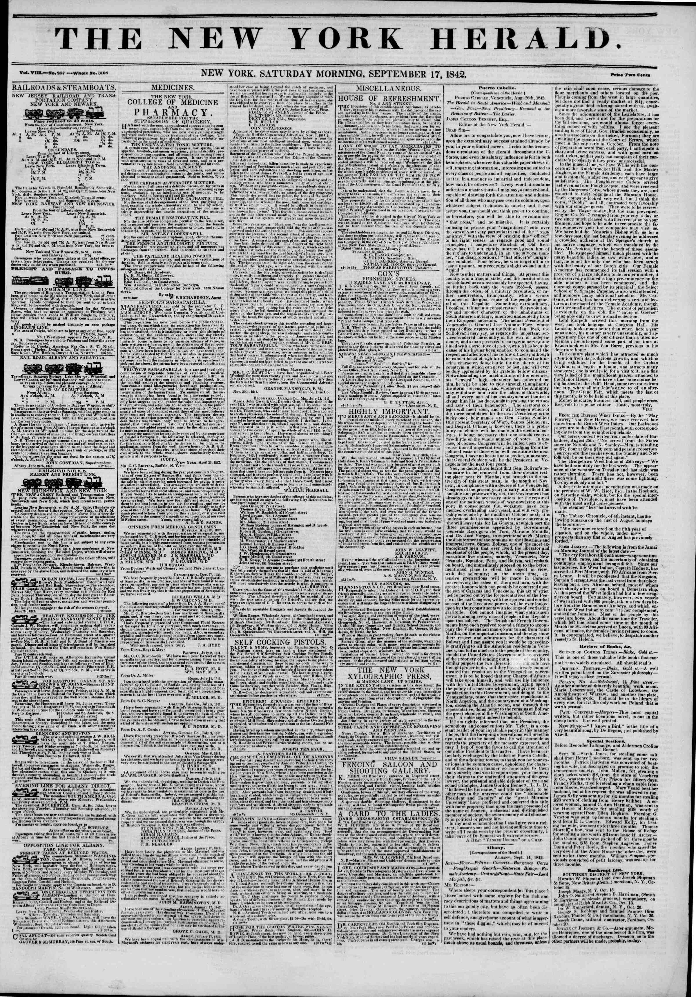 Newspaper of The New York Herald dated September 17, 1842 Page 1