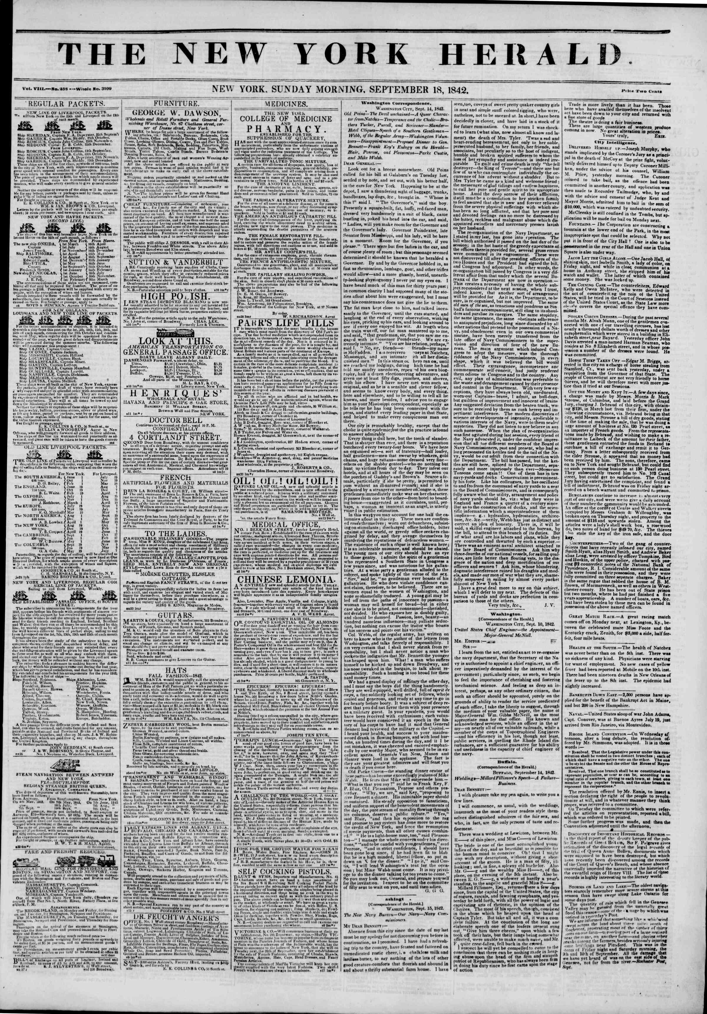September 18, 1842 Tarihli The New York Herald Gazetesi Sayfa 1