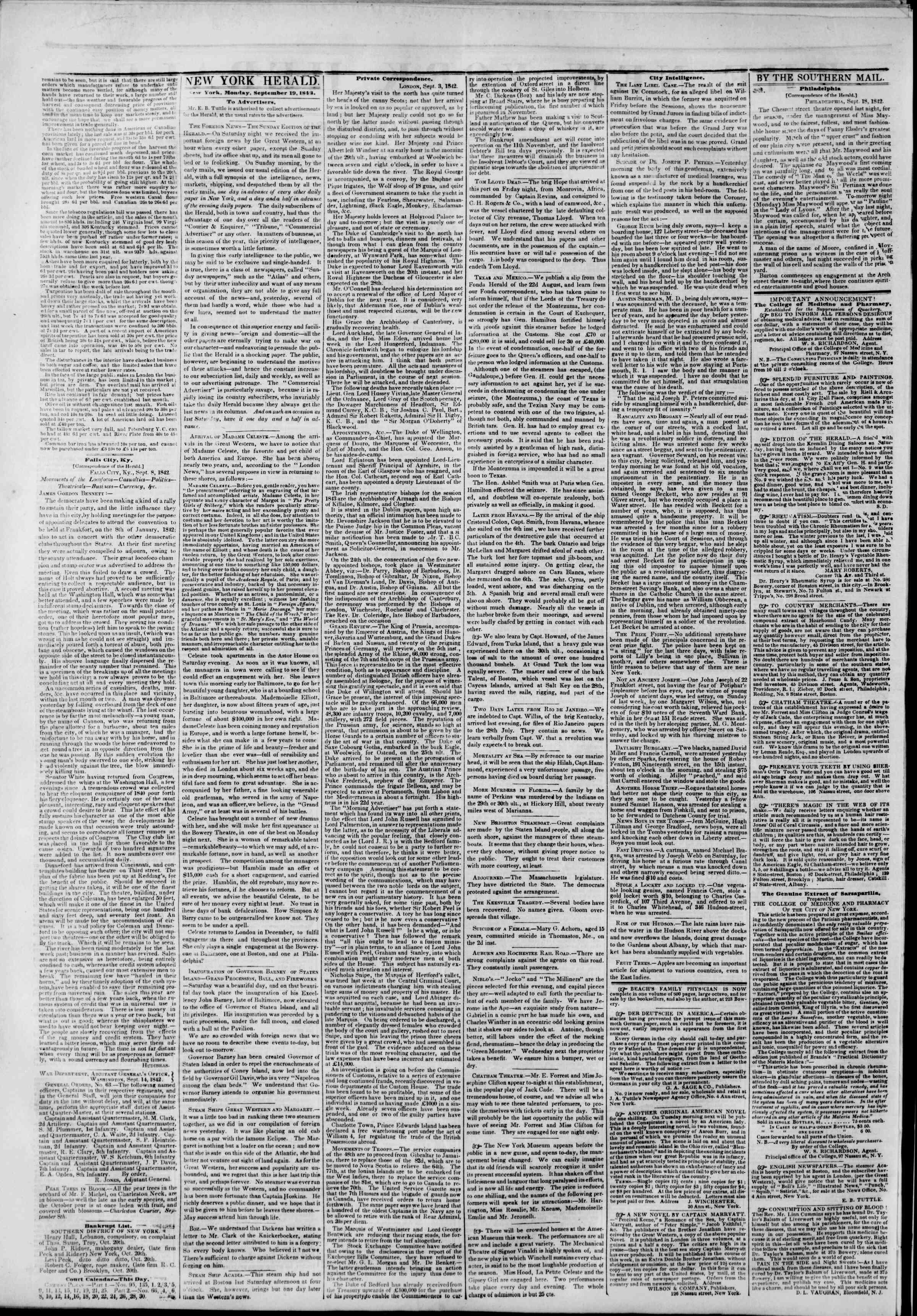 19 Eylül 1842 Tarihli The New York Herald Gazetesi Sayfa 2