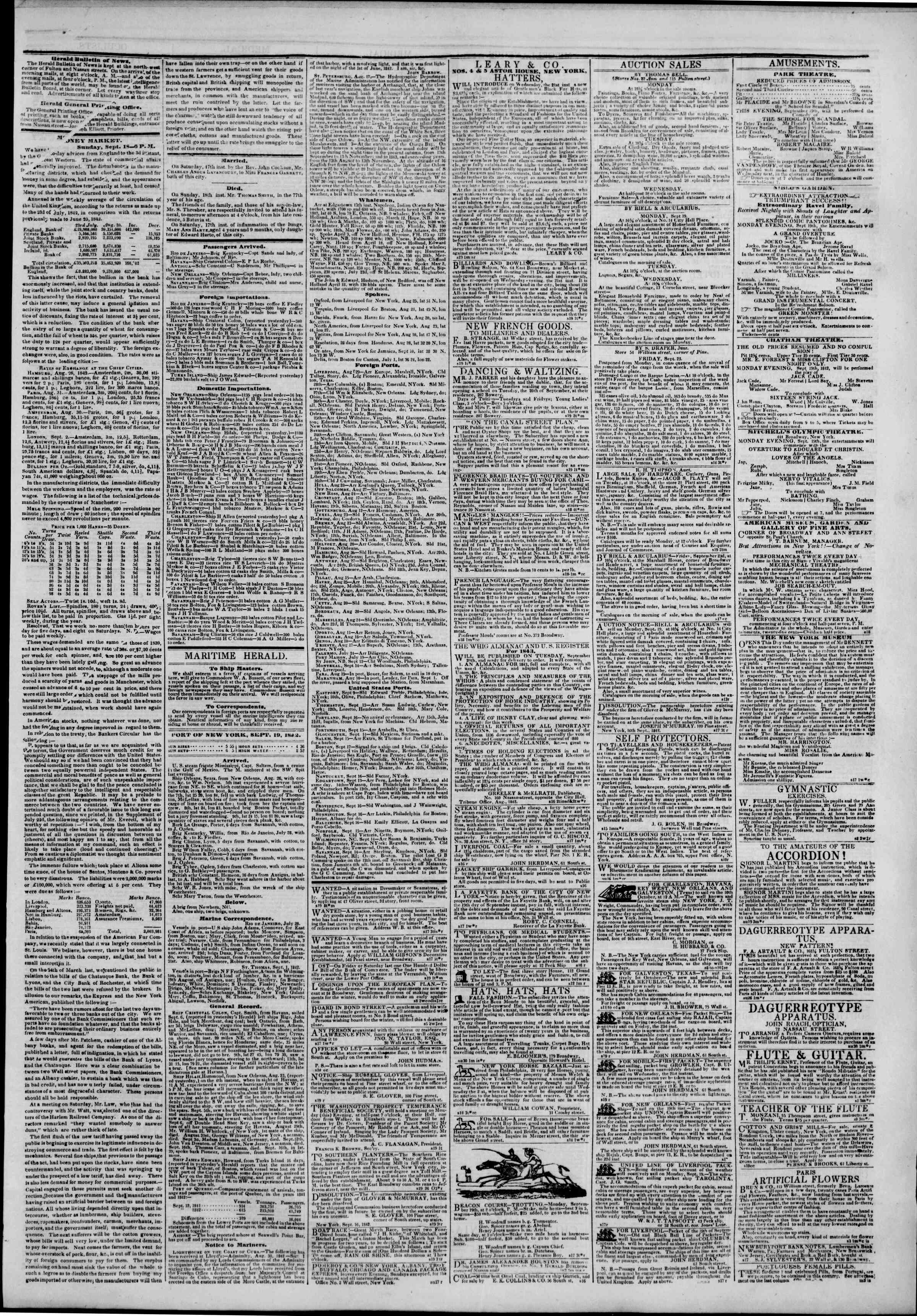 Newspaper of The New York Herald dated September 19, 1842 Page 3
