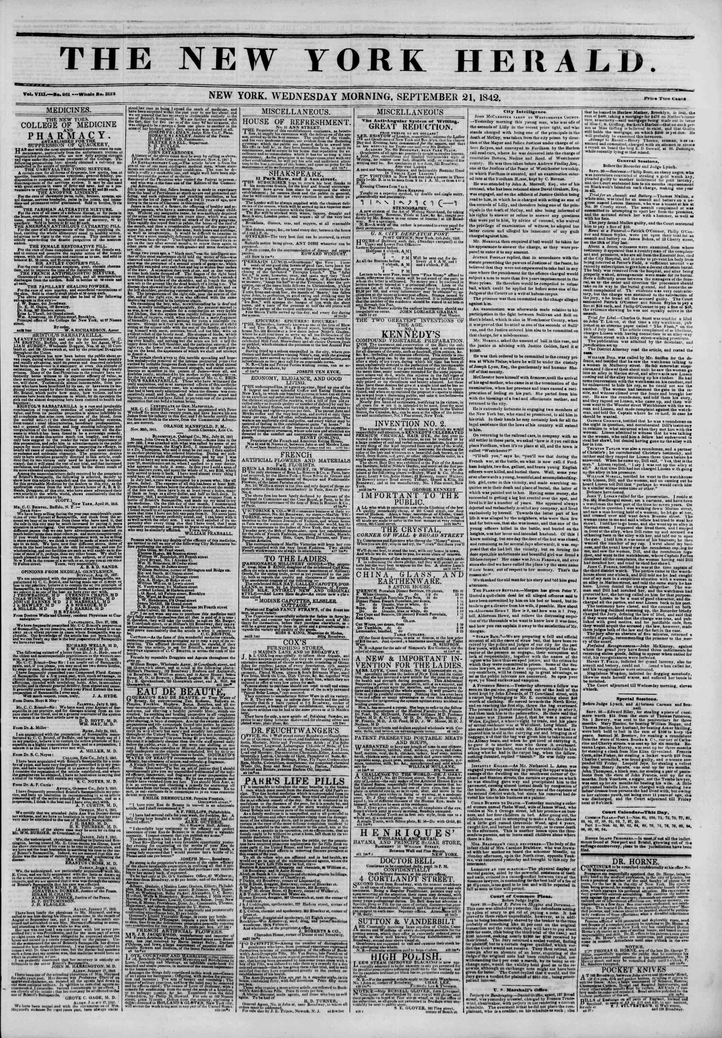 Newspaper of The New York Herald dated September 21, 1842 Page 1