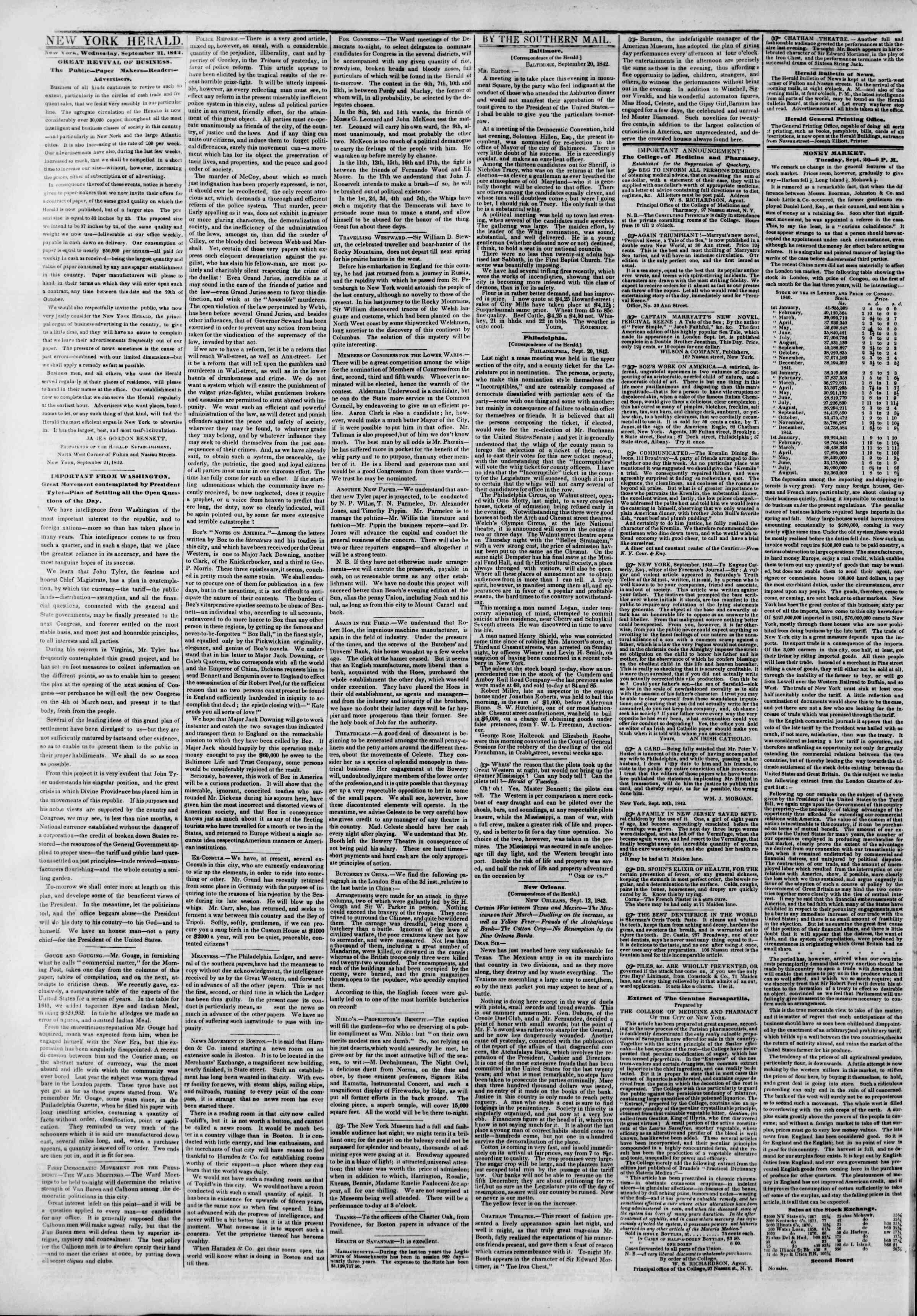Newspaper of The New York Herald dated September 21, 1842 Page 2