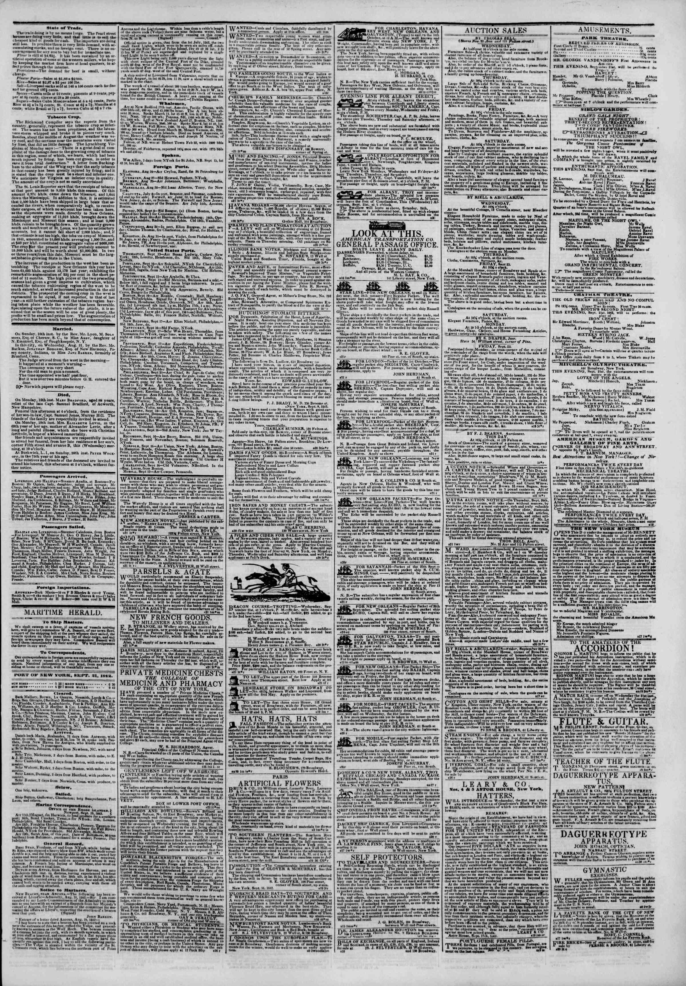 September 21, 1842 Tarihli The New York Herald Gazetesi Sayfa 3