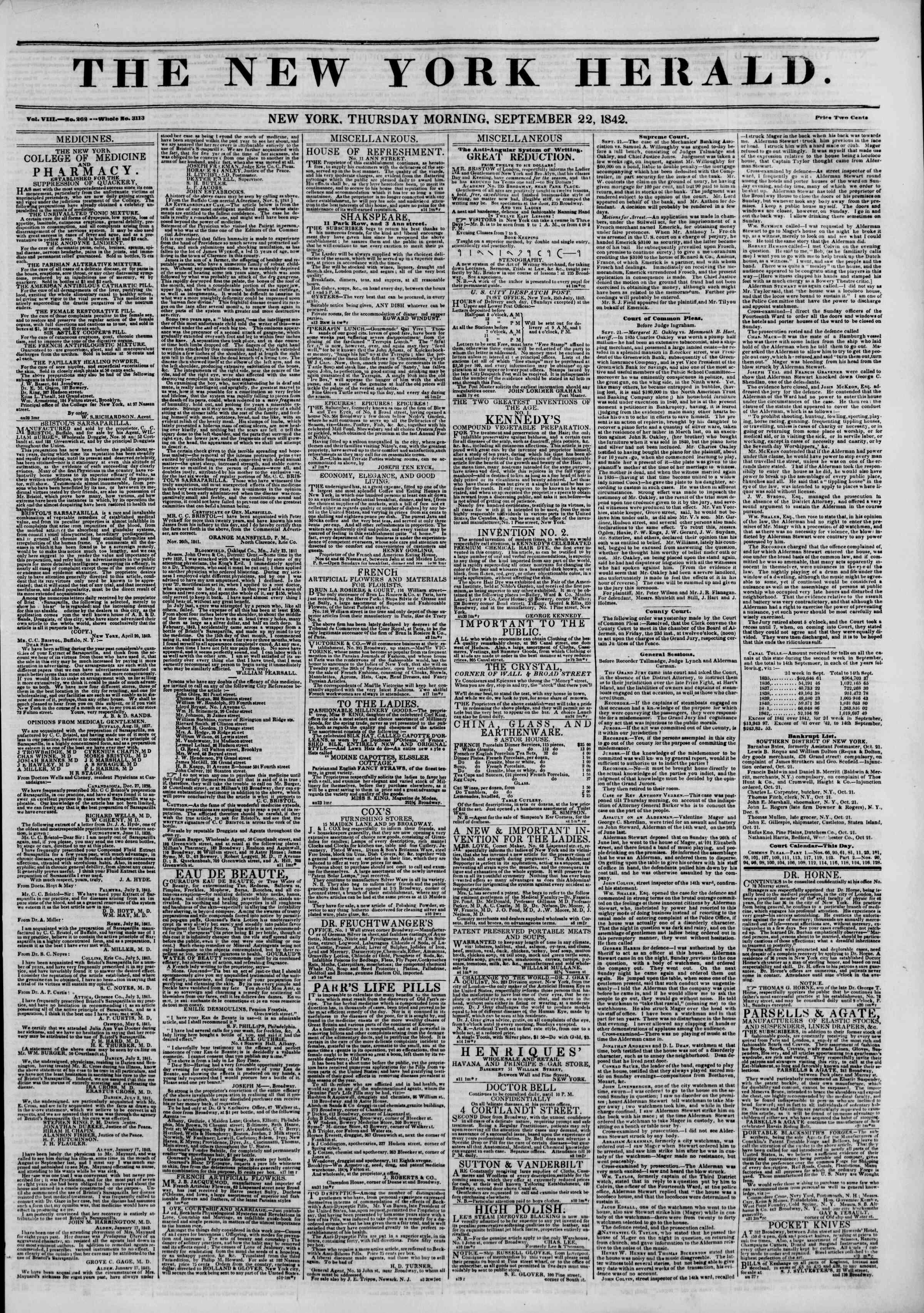 September 22, 1842 Tarihli The New York Herald Gazetesi Sayfa 1