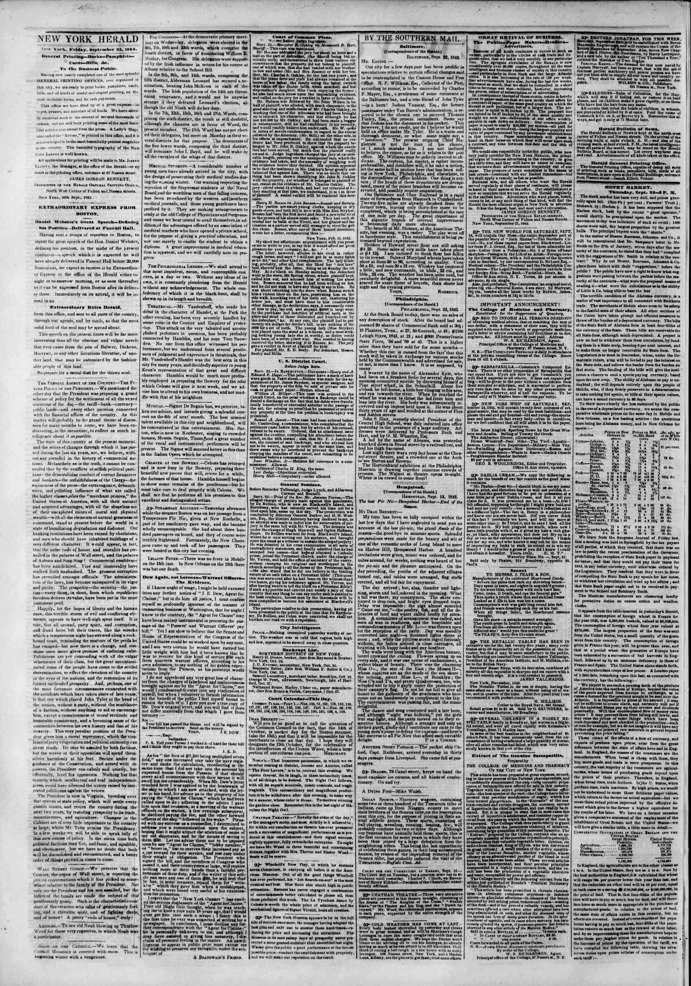 September 23, 1842 Tarihli The New York Herald Gazetesi Sayfa 2
