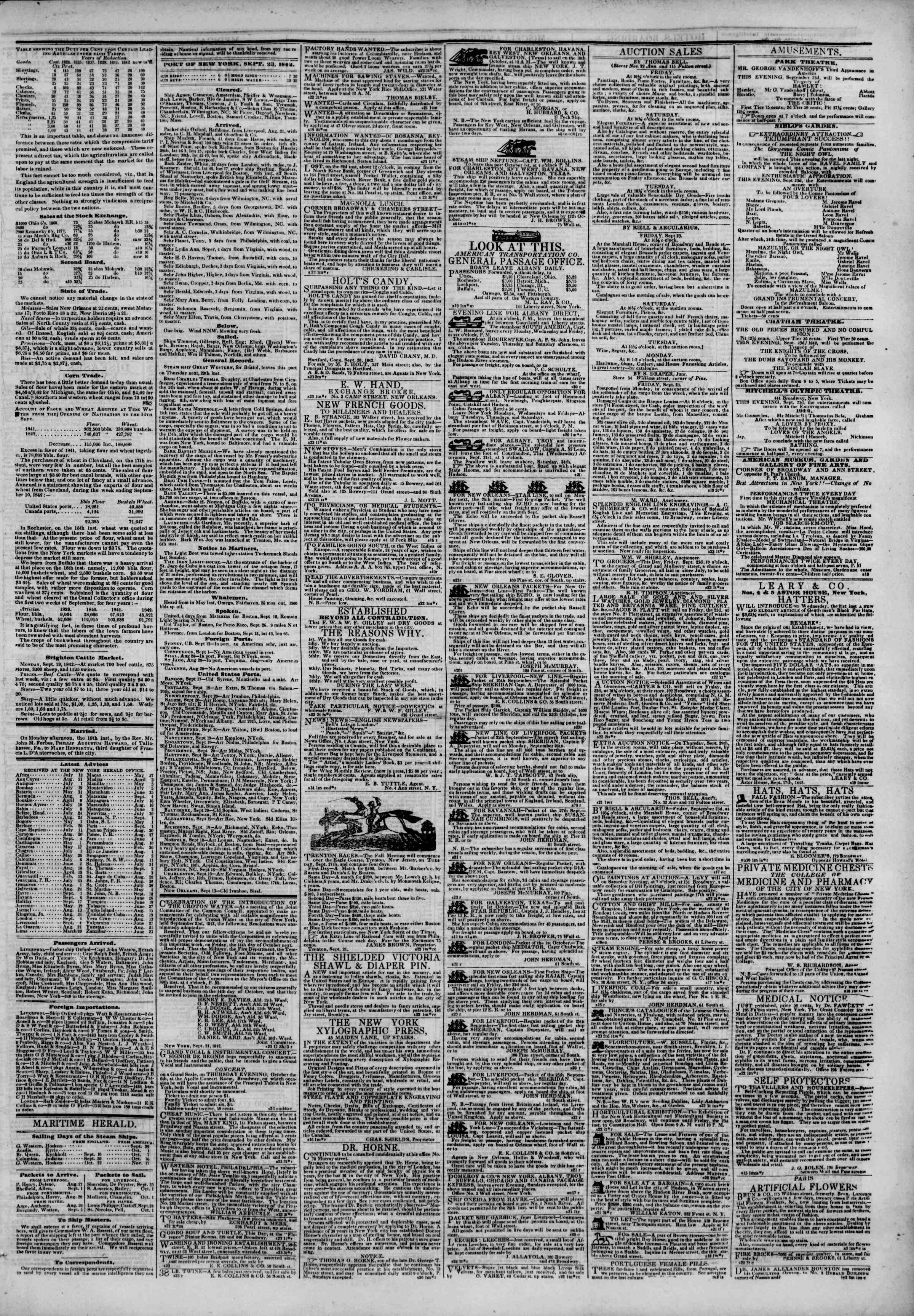 Newspaper of The New York Herald dated September 23, 1842 Page 3