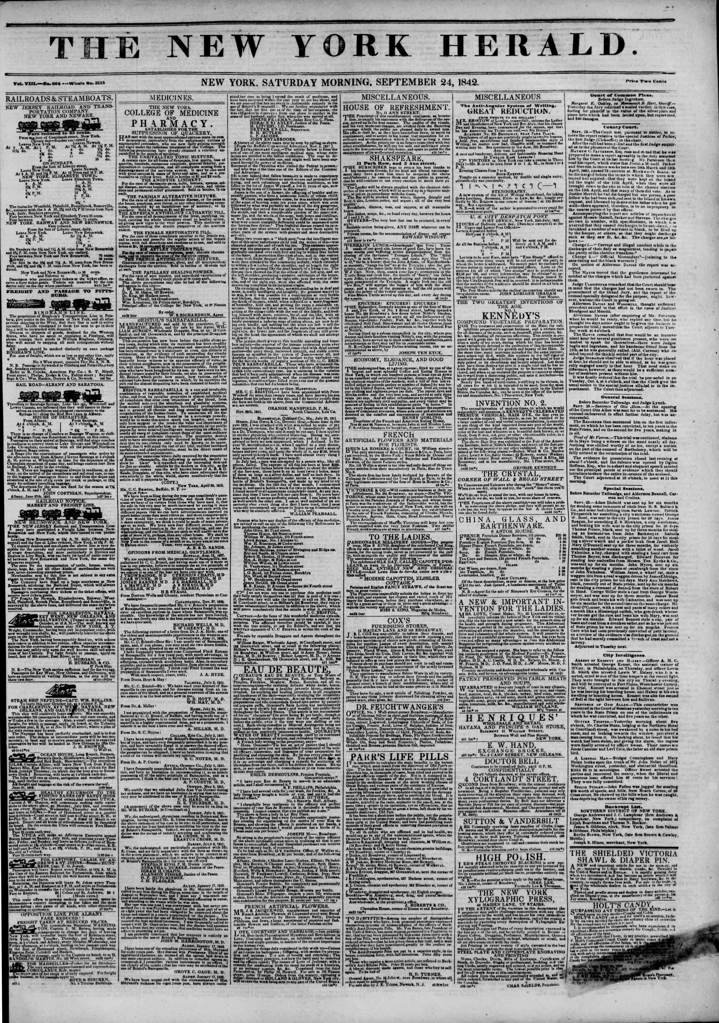 September 24, 1842 Tarihli The New York Herald Gazetesi Sayfa 1