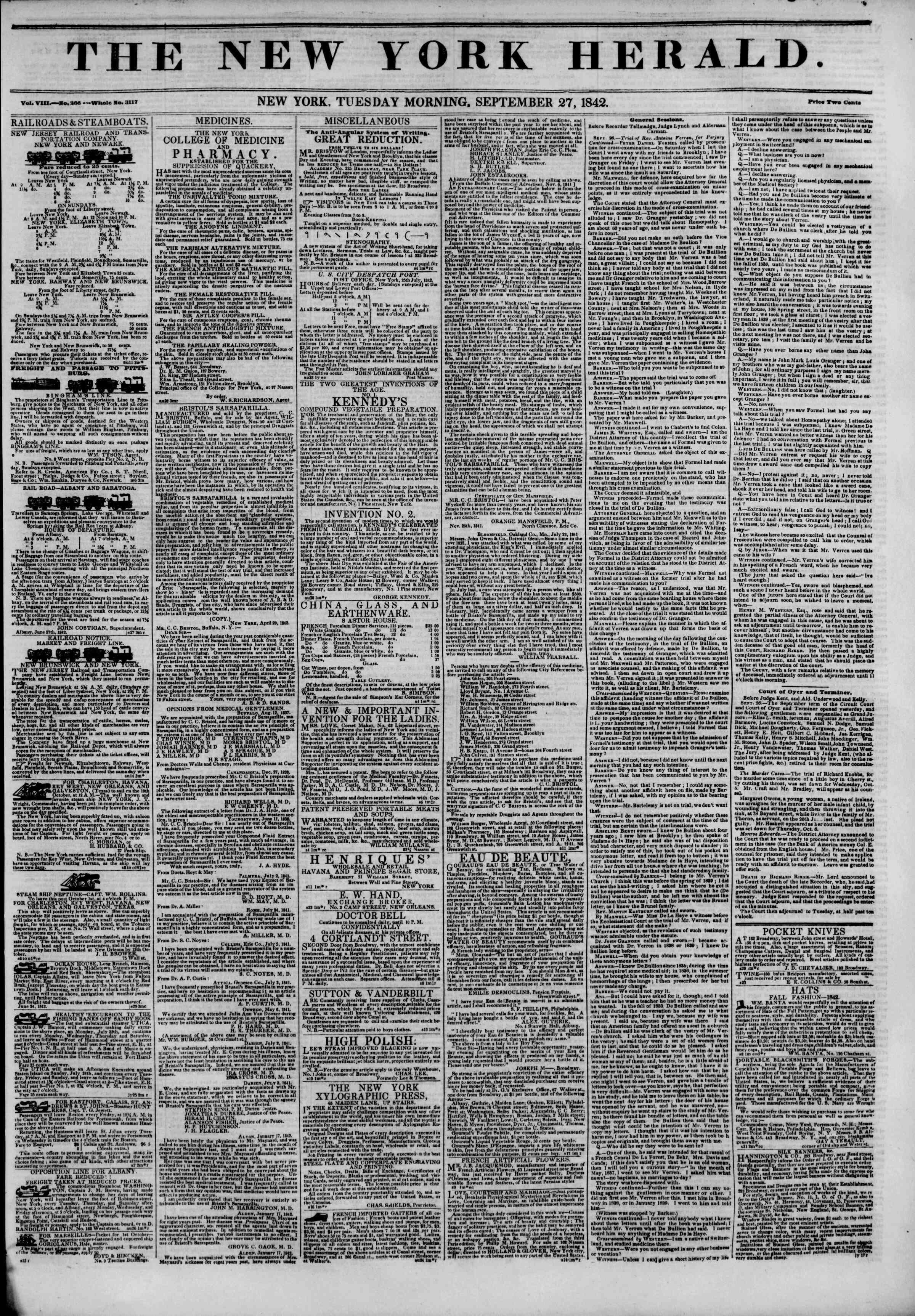 Newspaper of The New York Herald dated September 27, 1842 Page 1