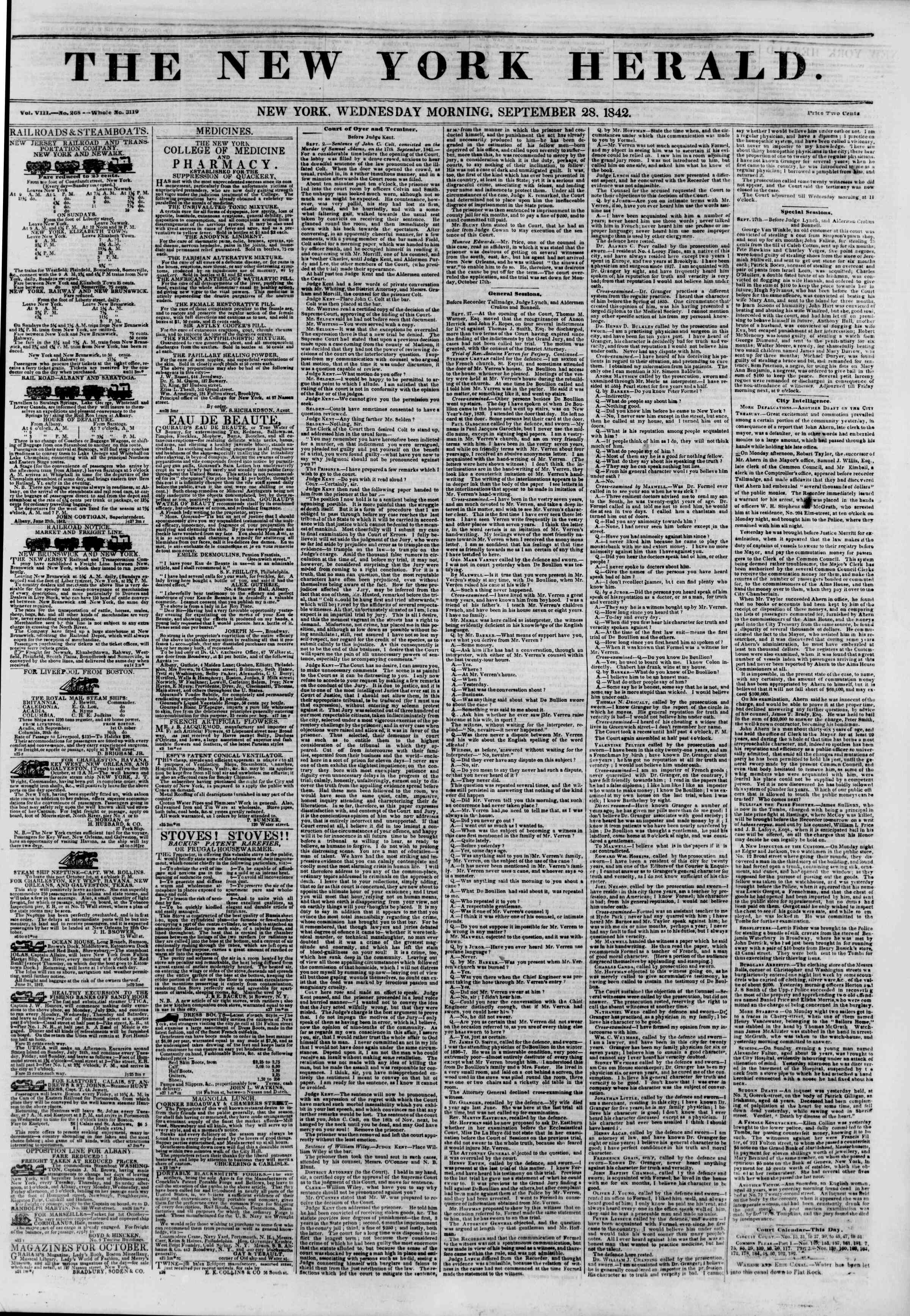 Newspaper of The New York Herald dated September 28, 1842 Page 1