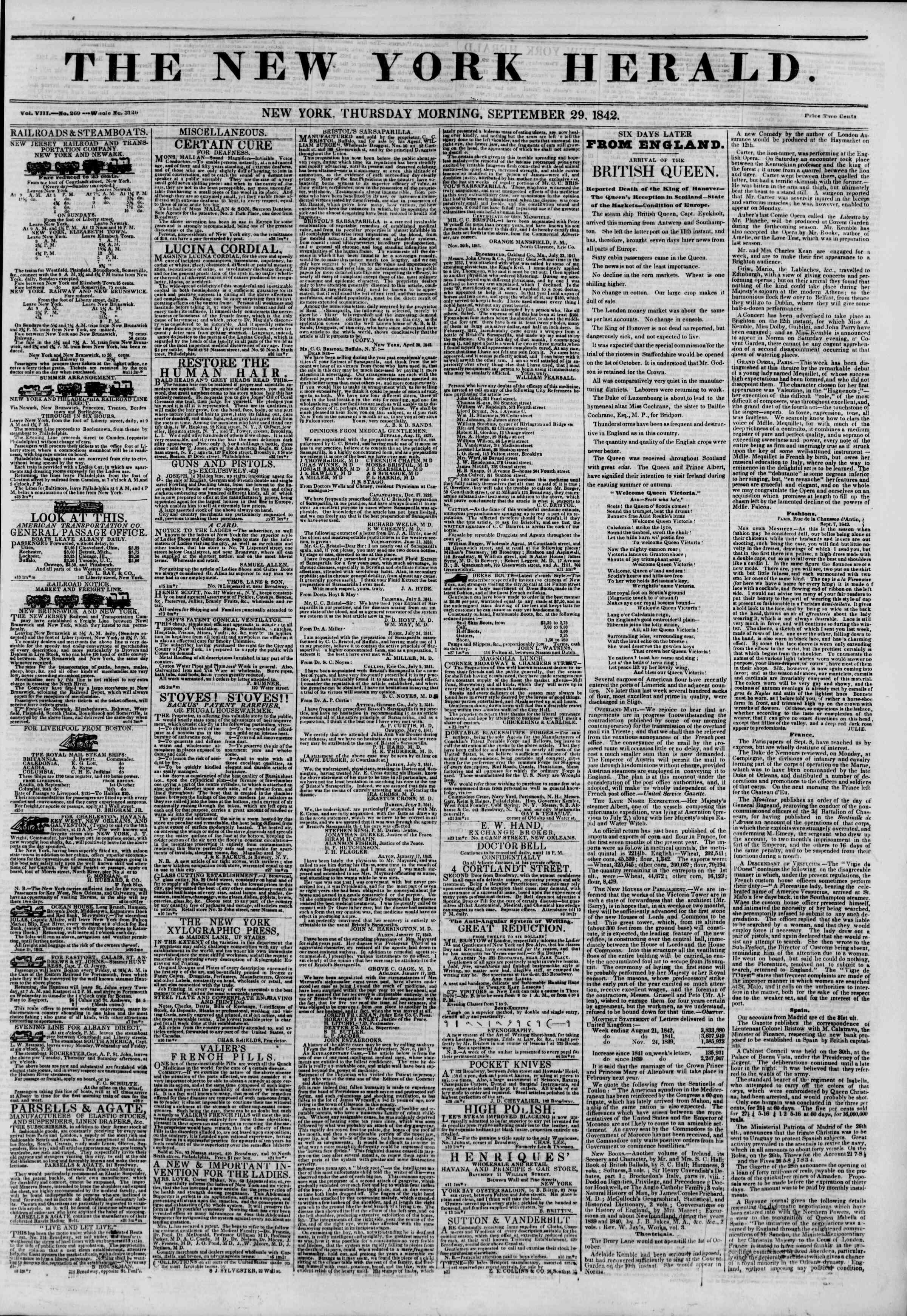 September 29, 1842 Tarihli The New York Herald Gazetesi Sayfa 1