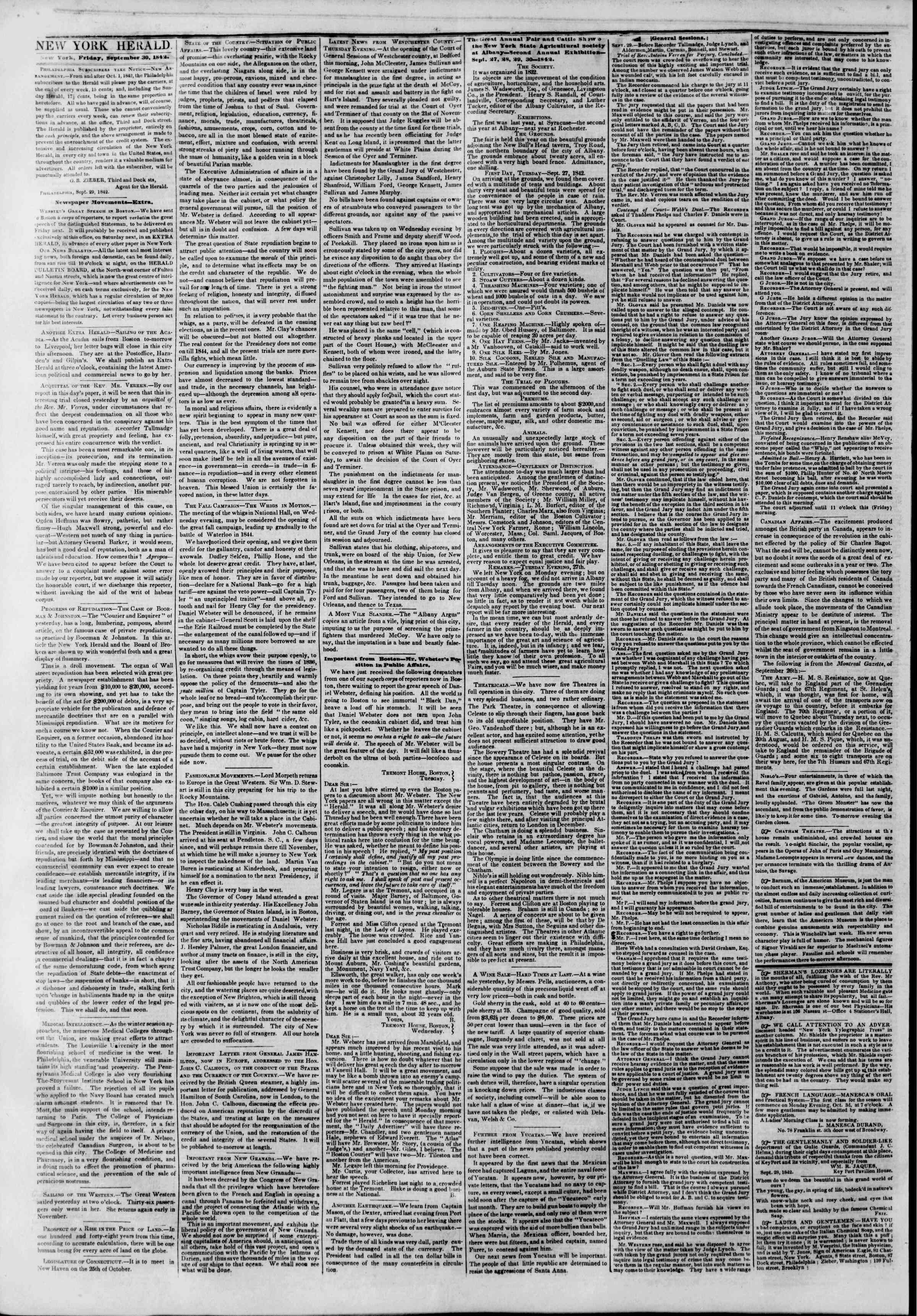 Newspaper of The New York Herald dated September 30, 1842 Page 2