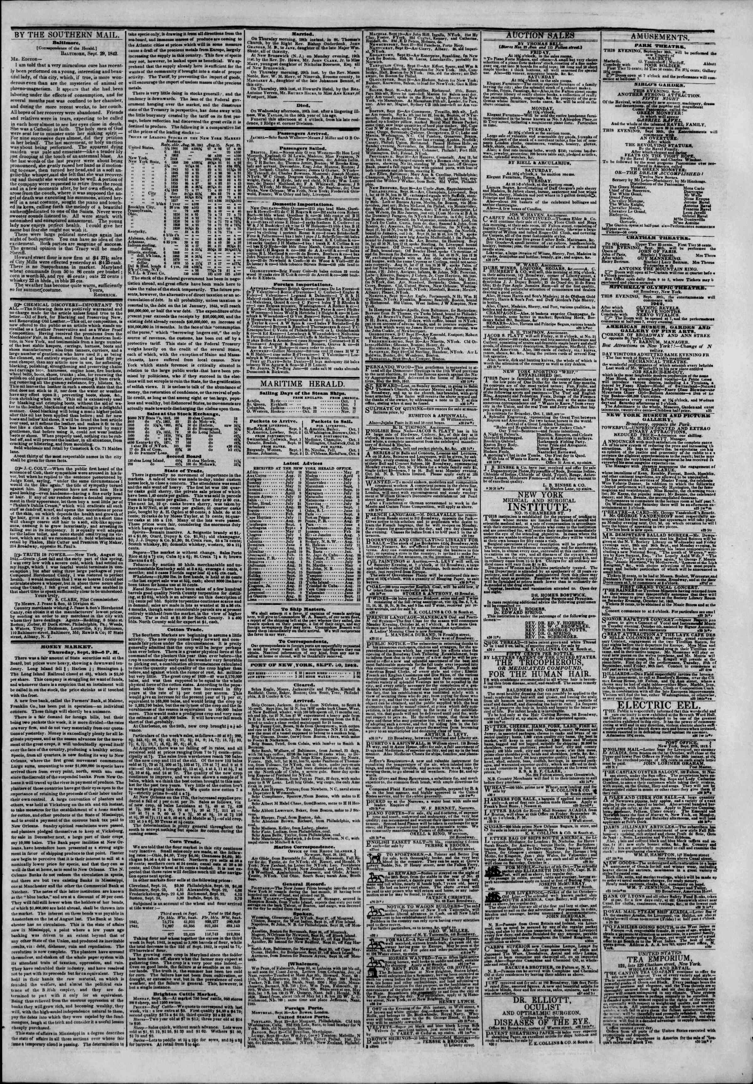 Newspaper of The New York Herald dated September 30, 1842 Page 3