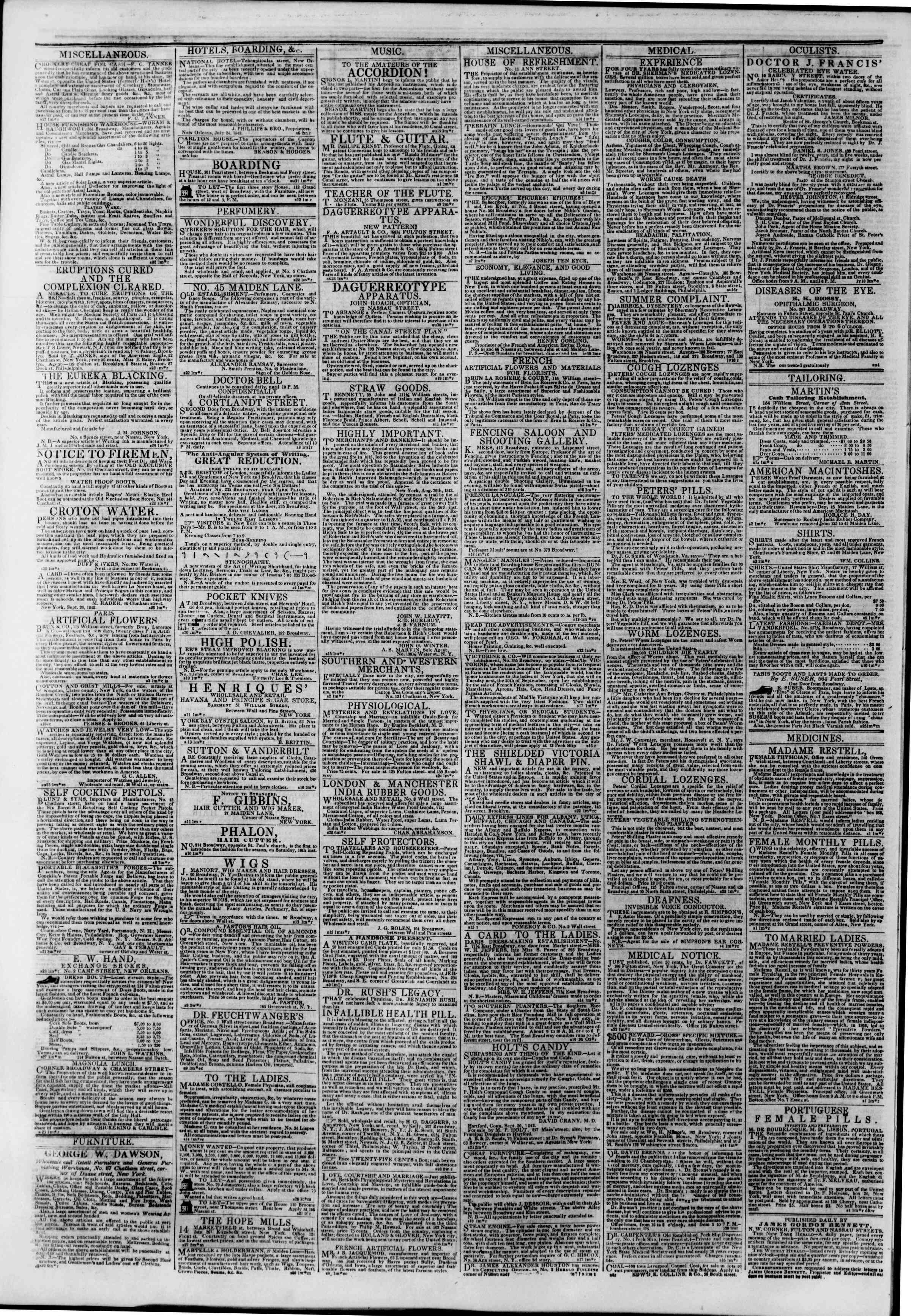 Newspaper of The New York Herald dated September 30, 1842 Page 4
