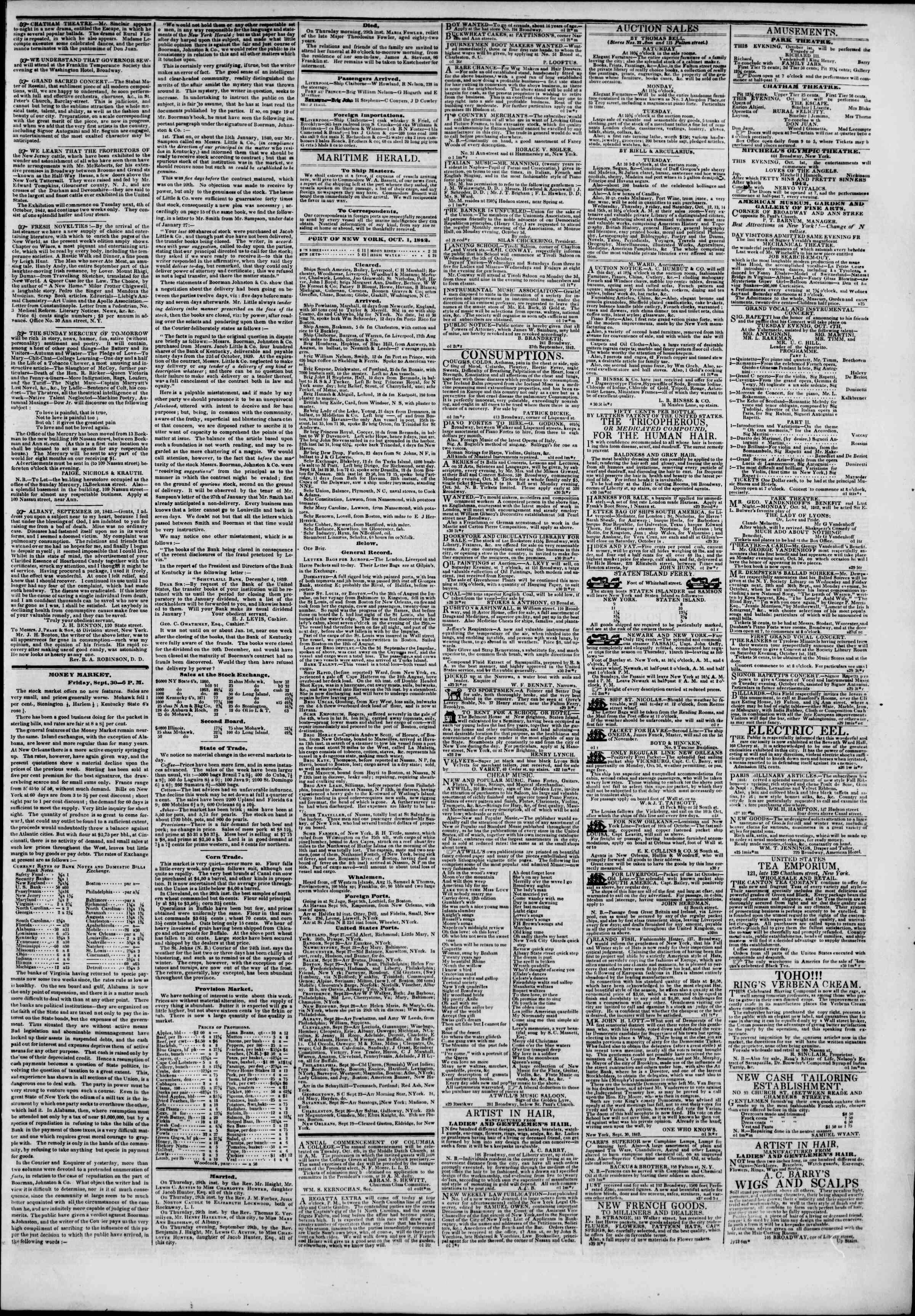 October 1, 1842 Tarihli The New York Herald Gazetesi Sayfa 3