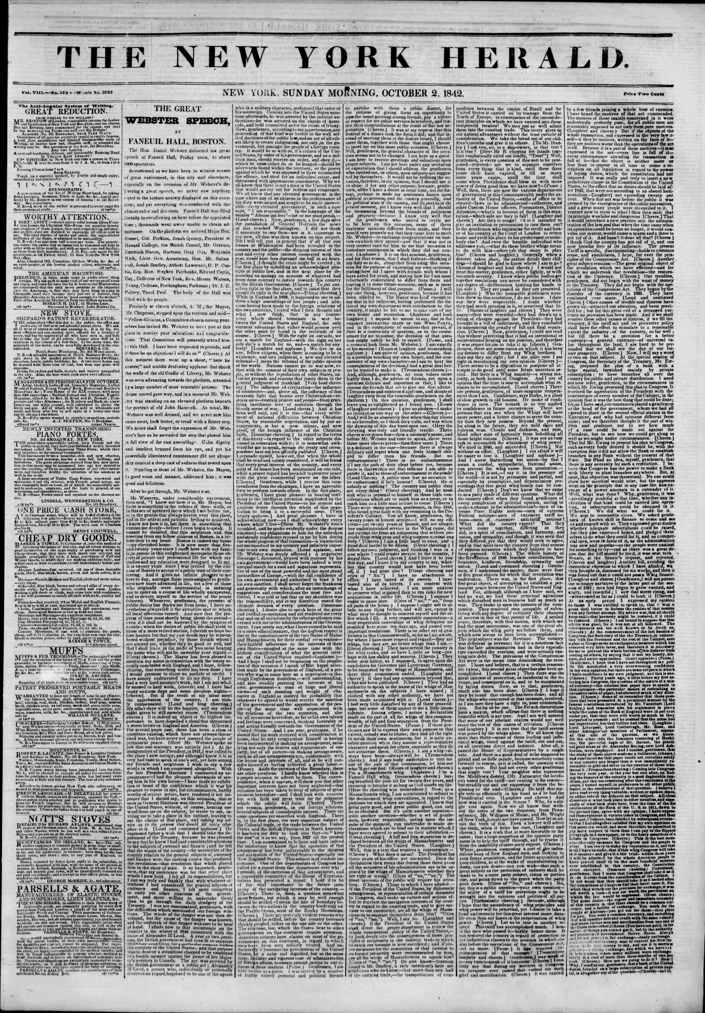 Newspaper of The New York Herald dated October 2, 1842 Page 1