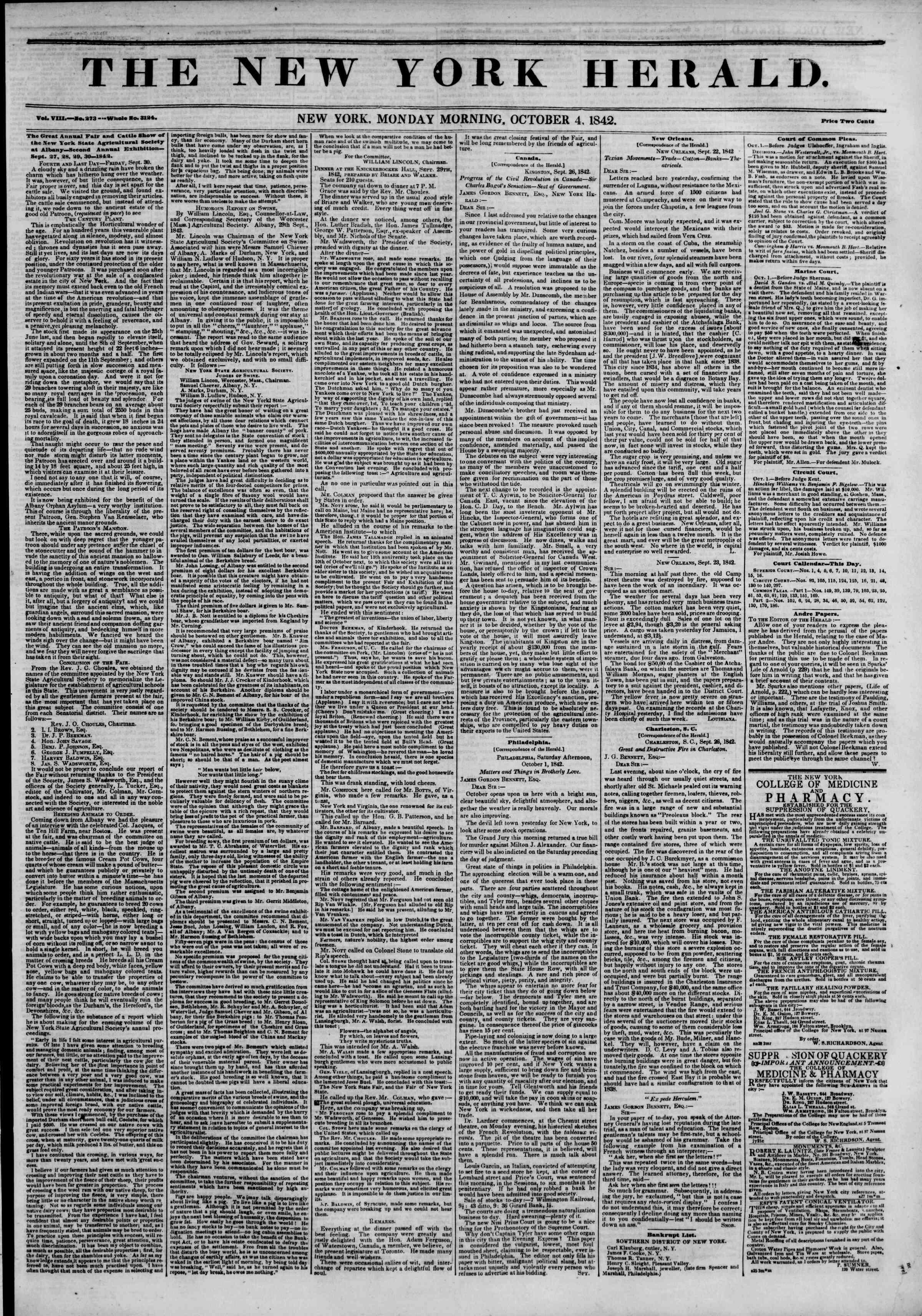 October 3, 1842 Tarihli The New York Herald Gazetesi Sayfa 1