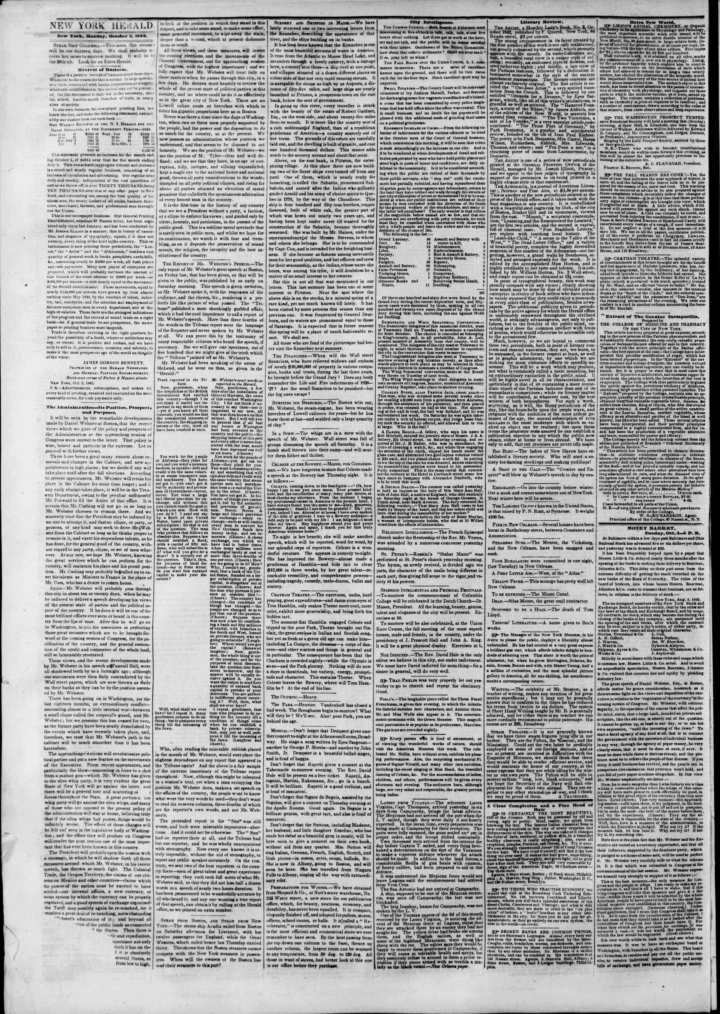 October 3, 1842 Tarihli The New York Herald Gazetesi Sayfa 2