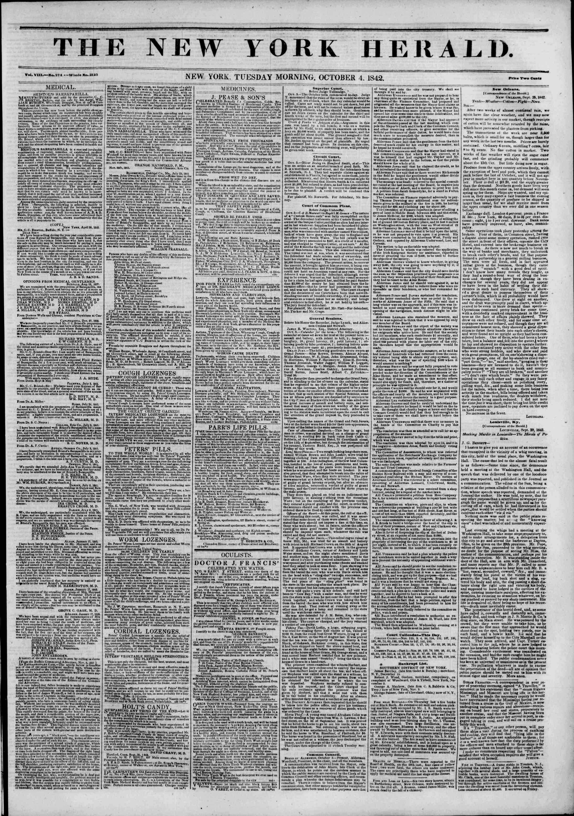 October 4, 1842 Tarihli The New York Herald Gazetesi Sayfa 1