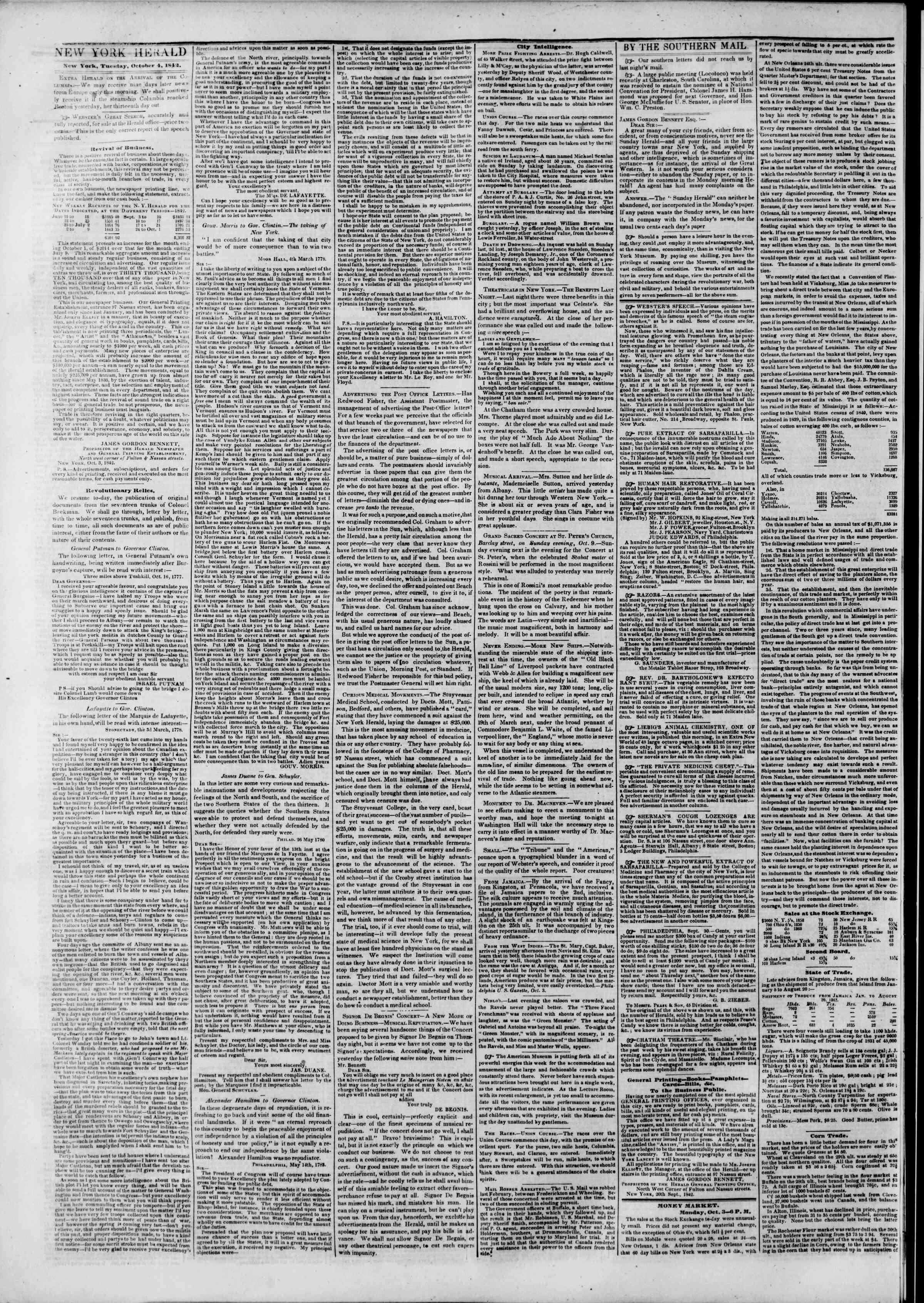 Newspaper of The New York Herald dated October 4, 1842 Page 2