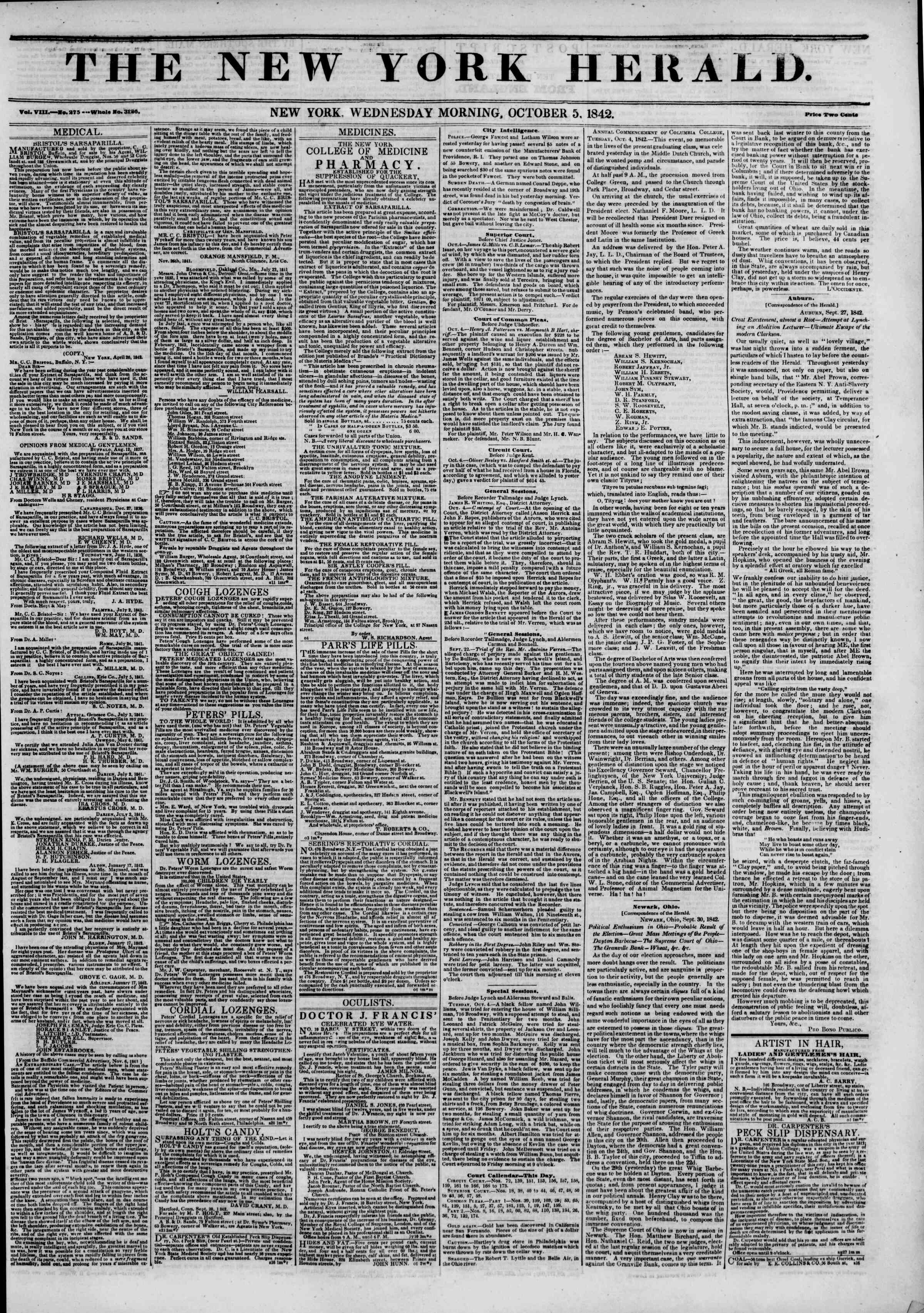 October 5, 1842 Tarihli The New York Herald Gazetesi Sayfa 1