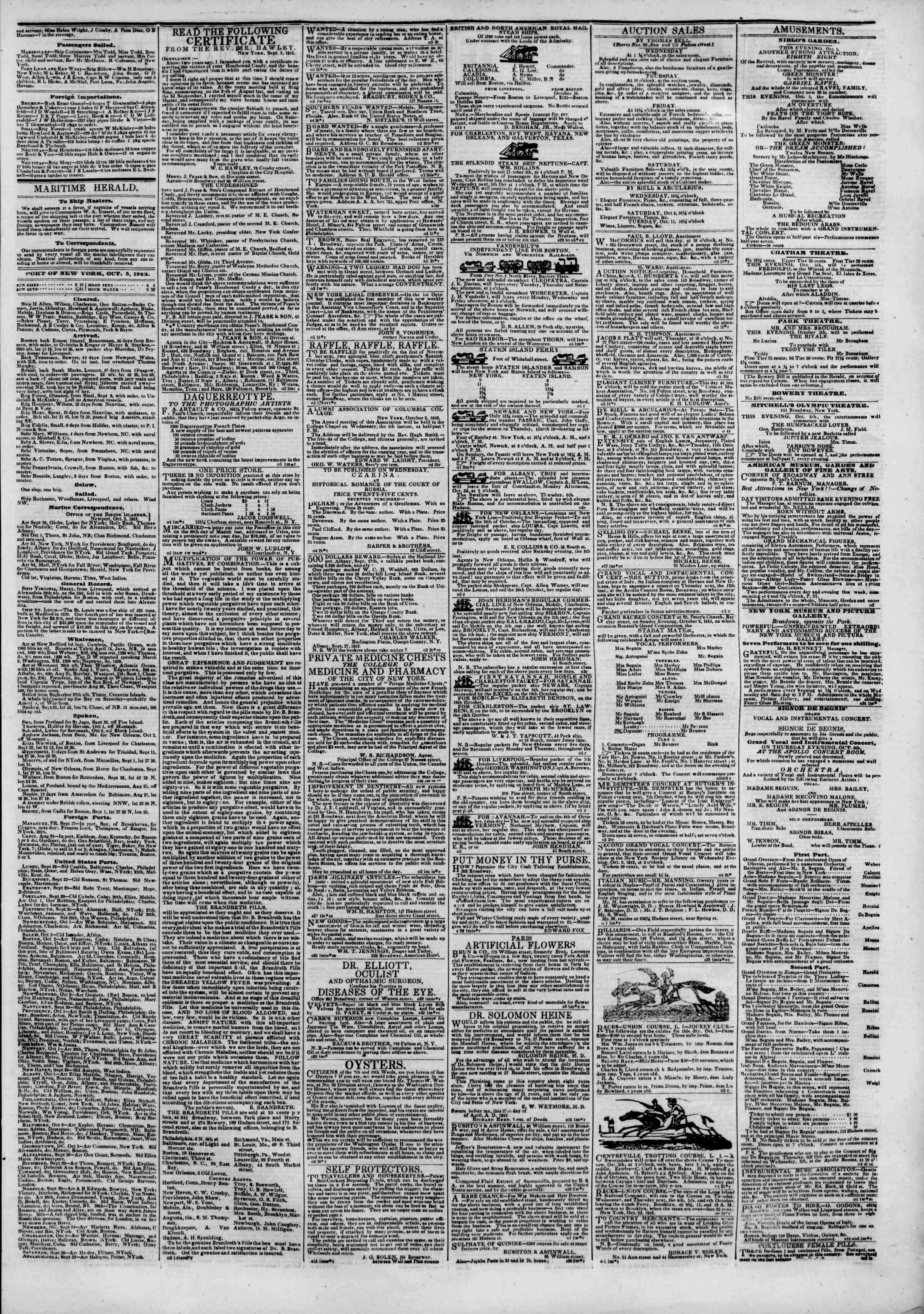 October 5, 1842 Tarihli The New York Herald Gazetesi Sayfa 3