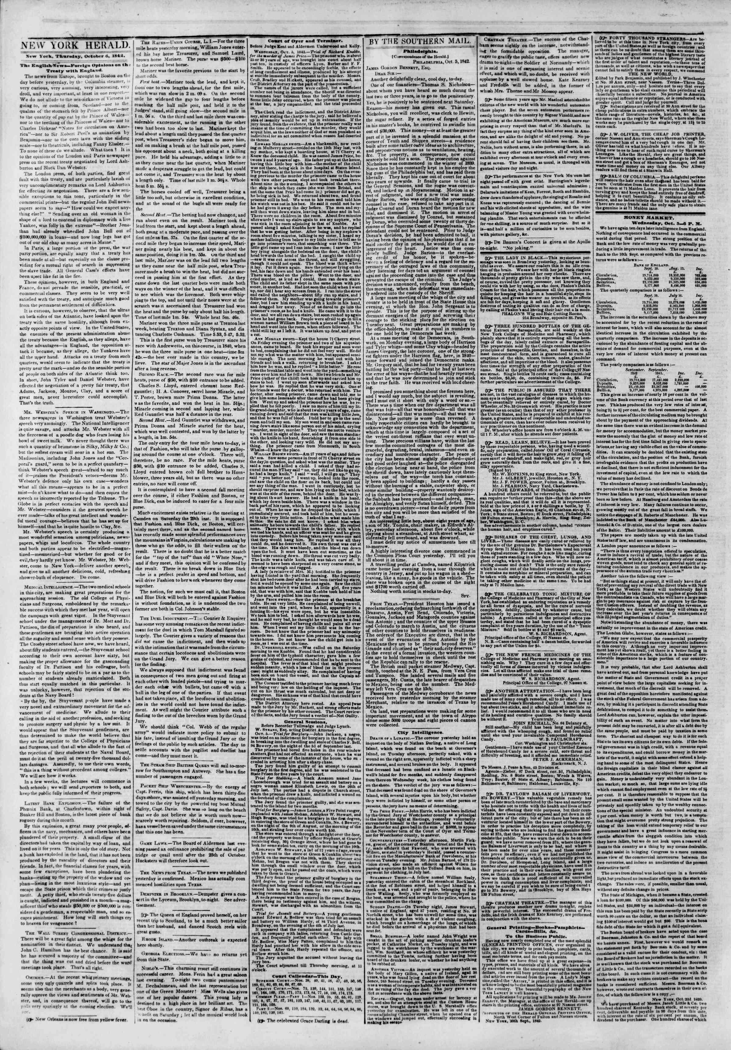 October 6, 1842 Tarihli The New York Herald Gazetesi Sayfa 2