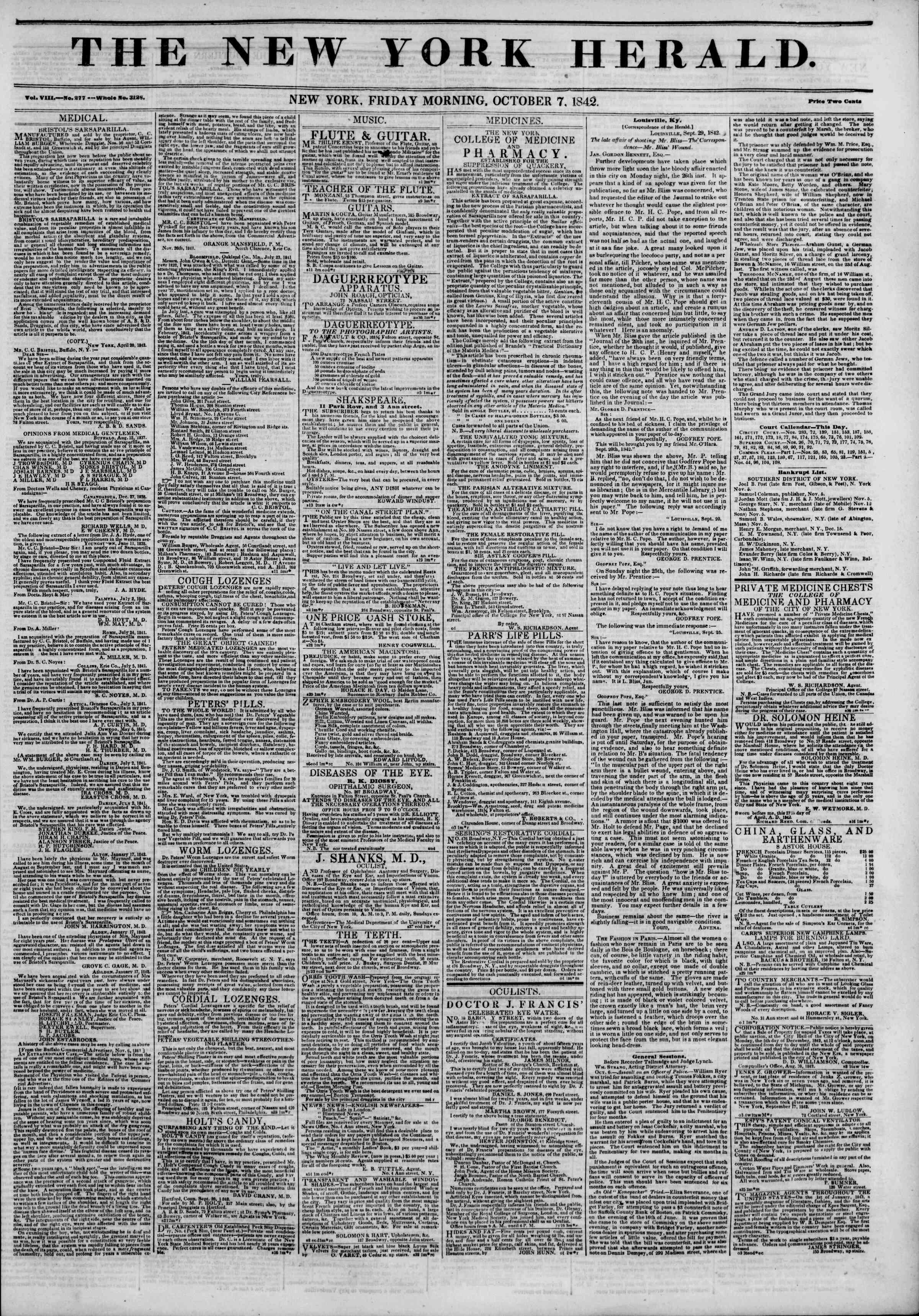 October 7, 1842 Tarihli The New York Herald Gazetesi Sayfa 1