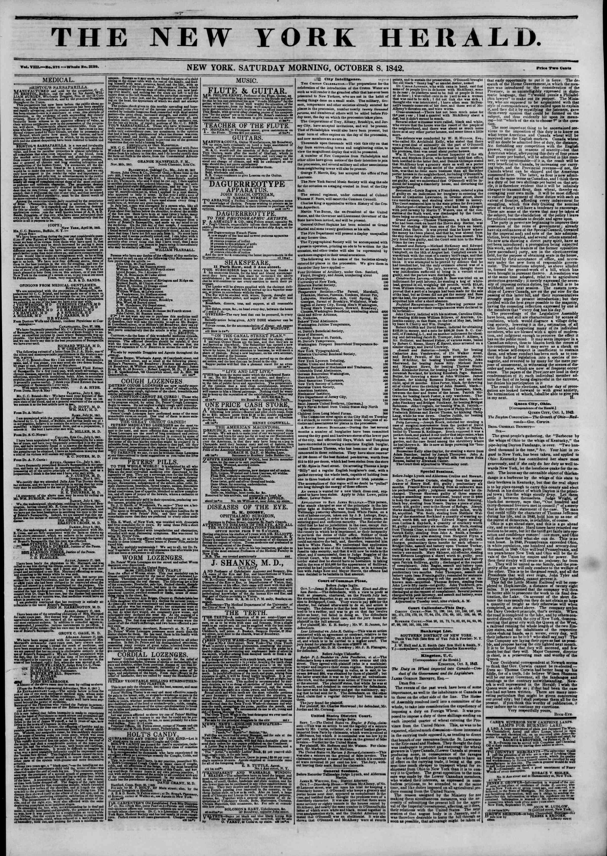 October 8, 1842 Tarihli The New York Herald Gazetesi Sayfa 1