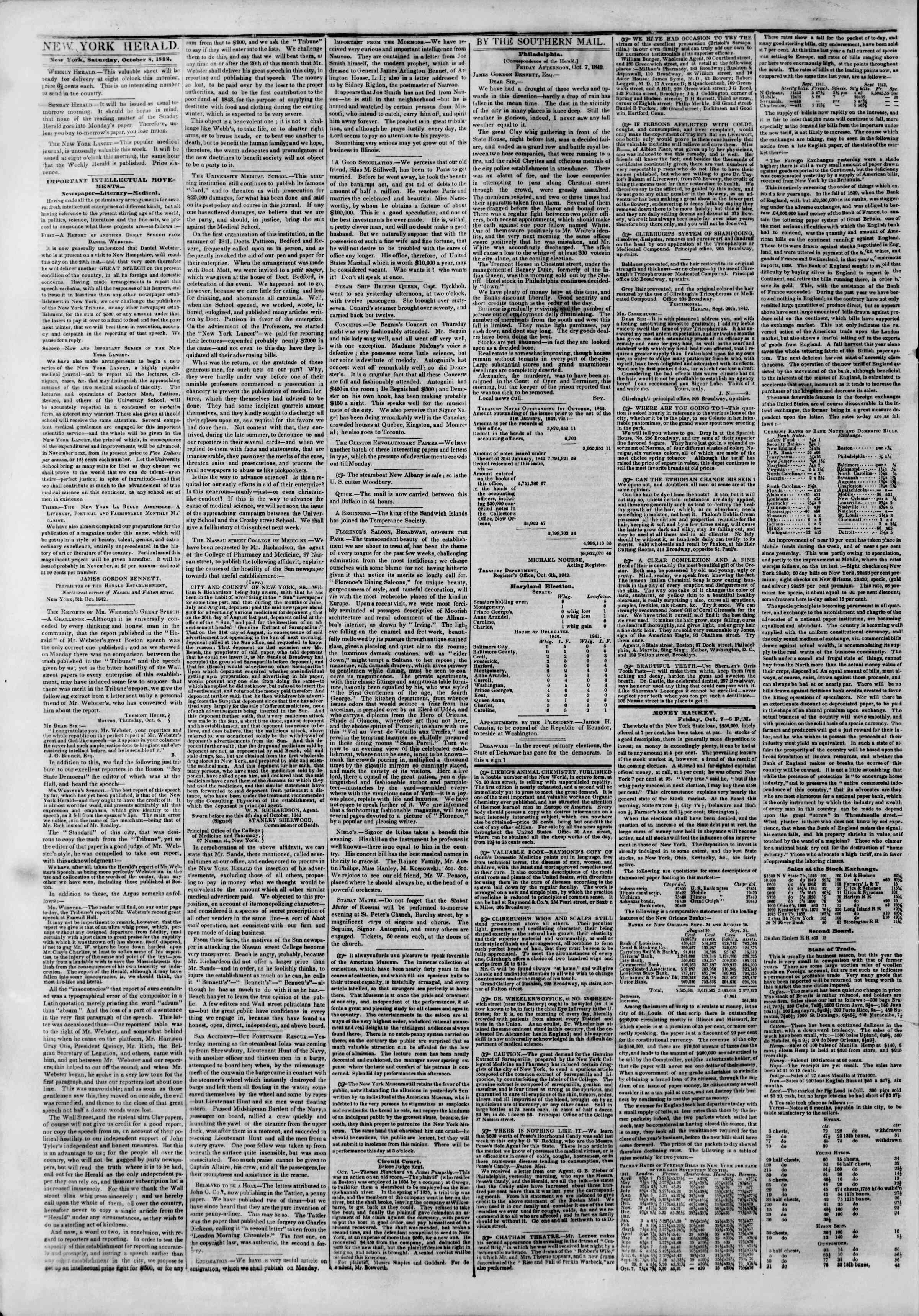 October 8, 1842 Tarihli The New York Herald Gazetesi Sayfa 2