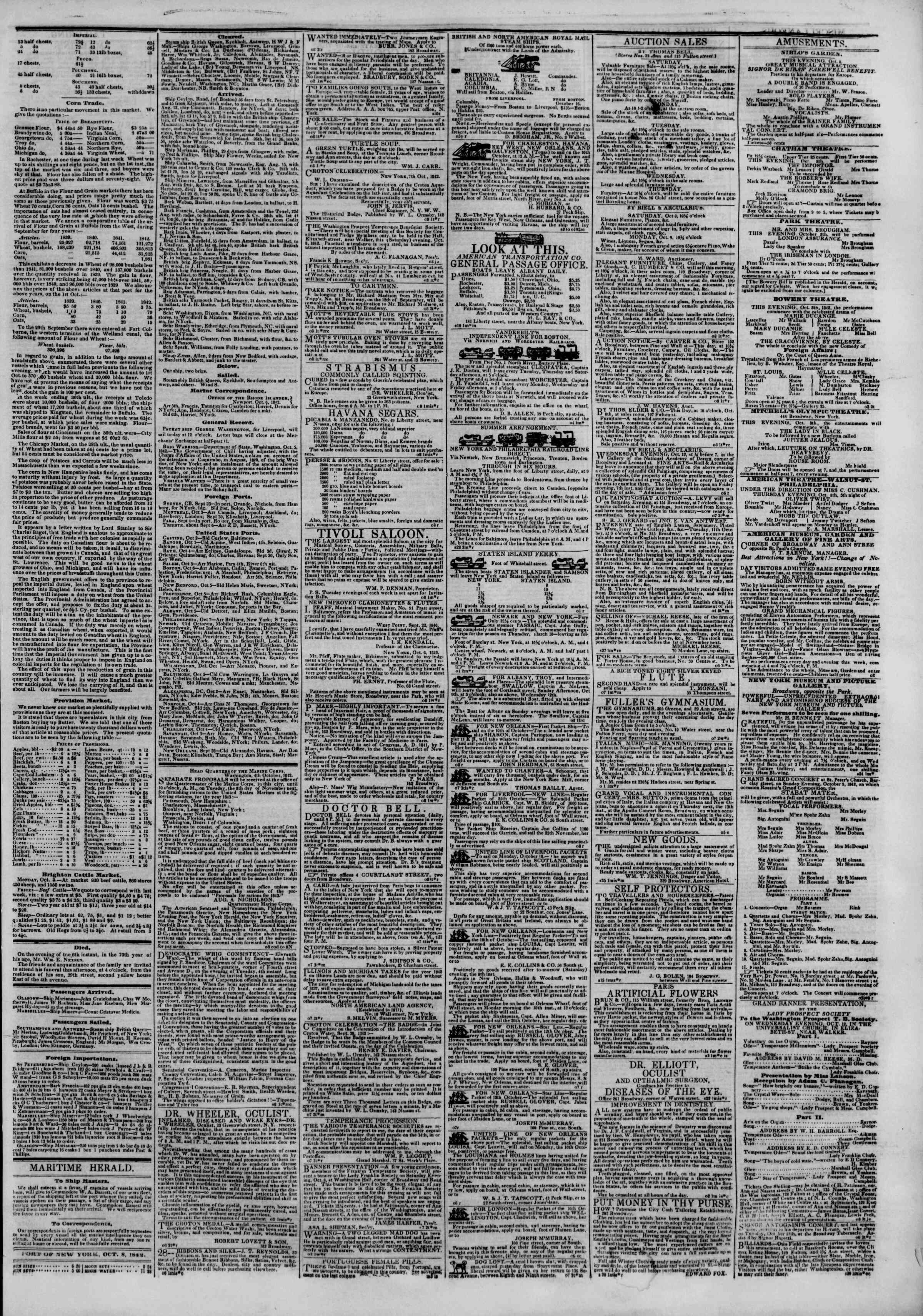 October 8, 1842 Tarihli The New York Herald Gazetesi Sayfa 3