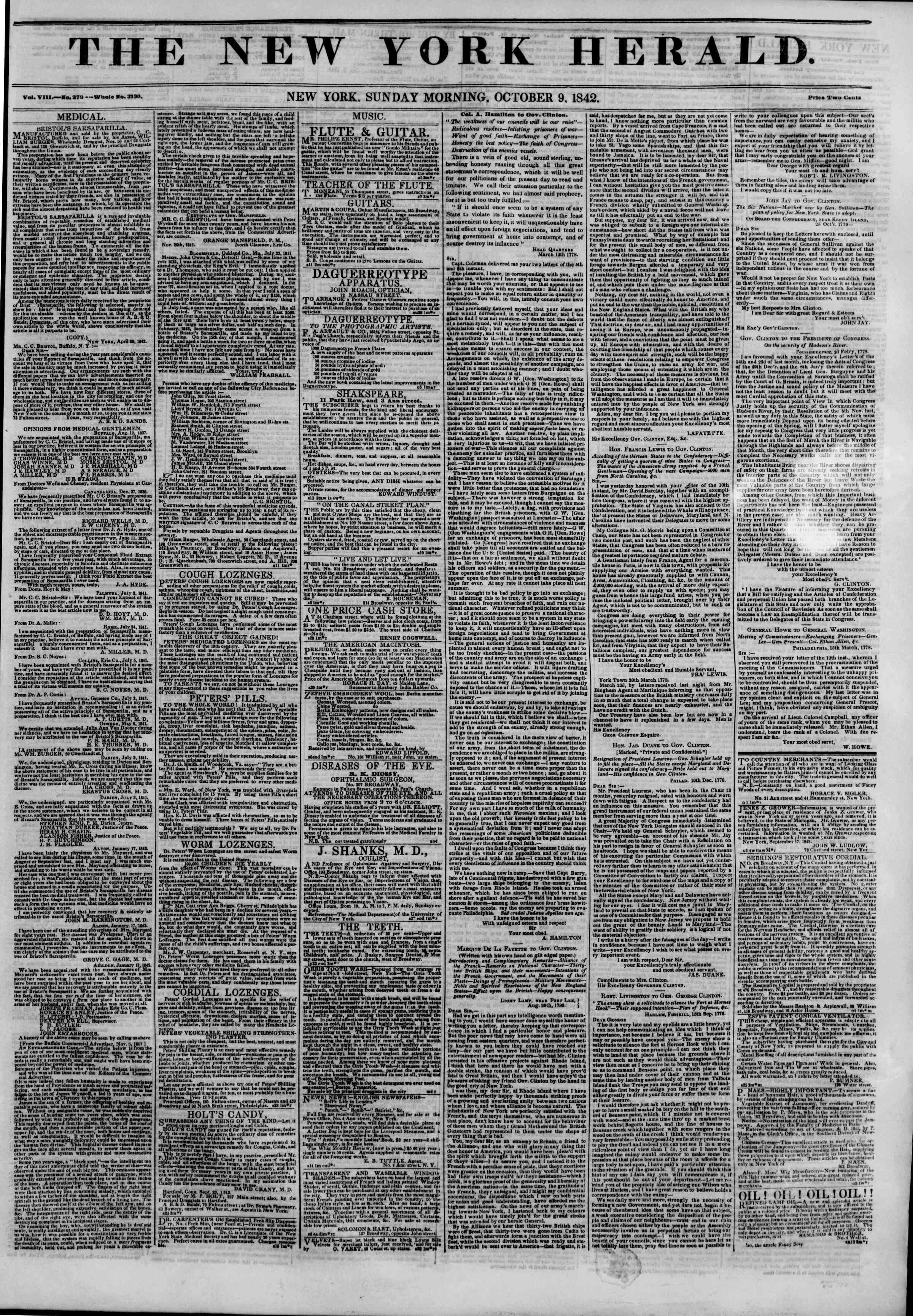 Newspaper of The New York Herald dated October 9, 1842 Page 1