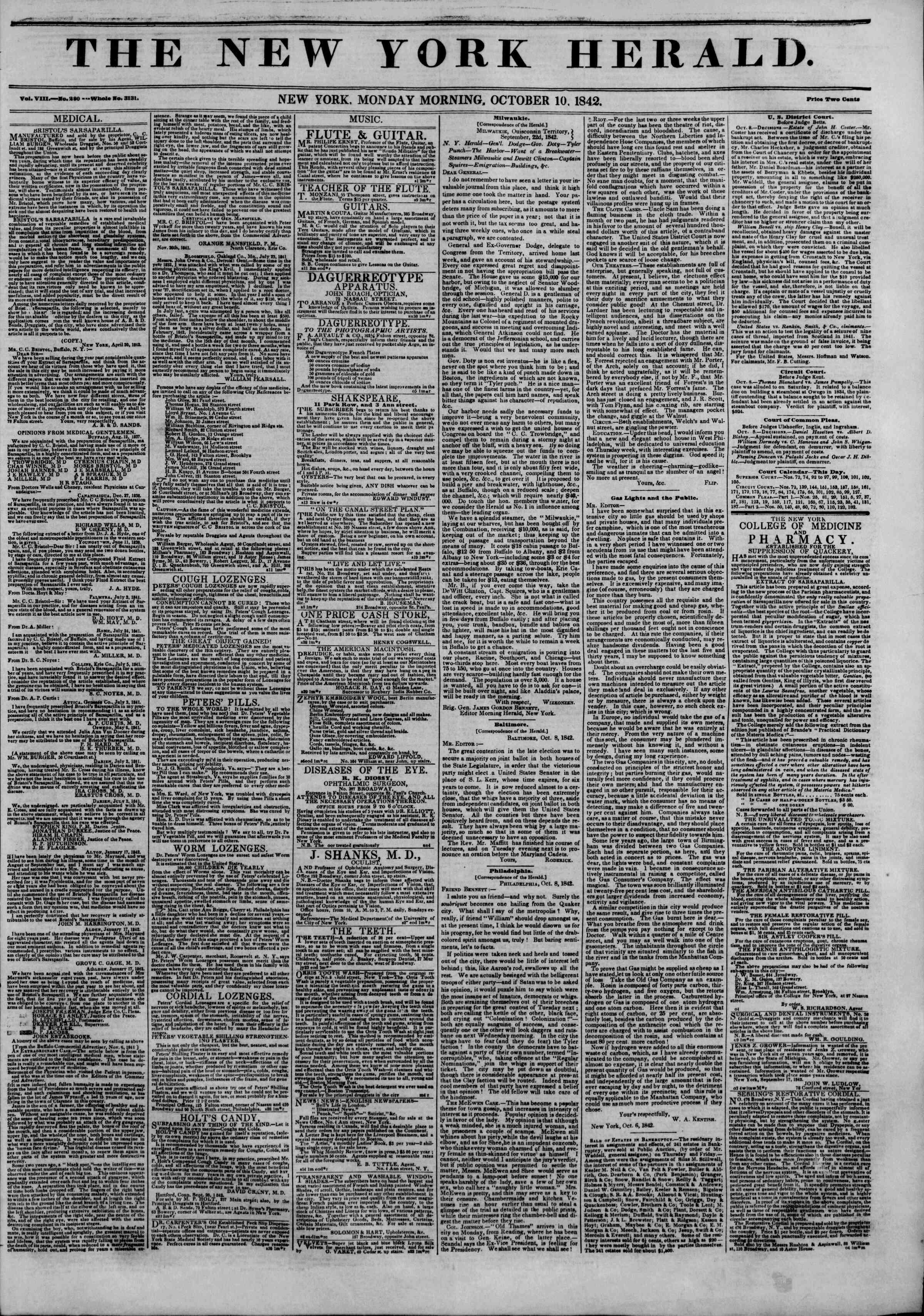 October 10, 1842 Tarihli The New York Herald Gazetesi Sayfa 1