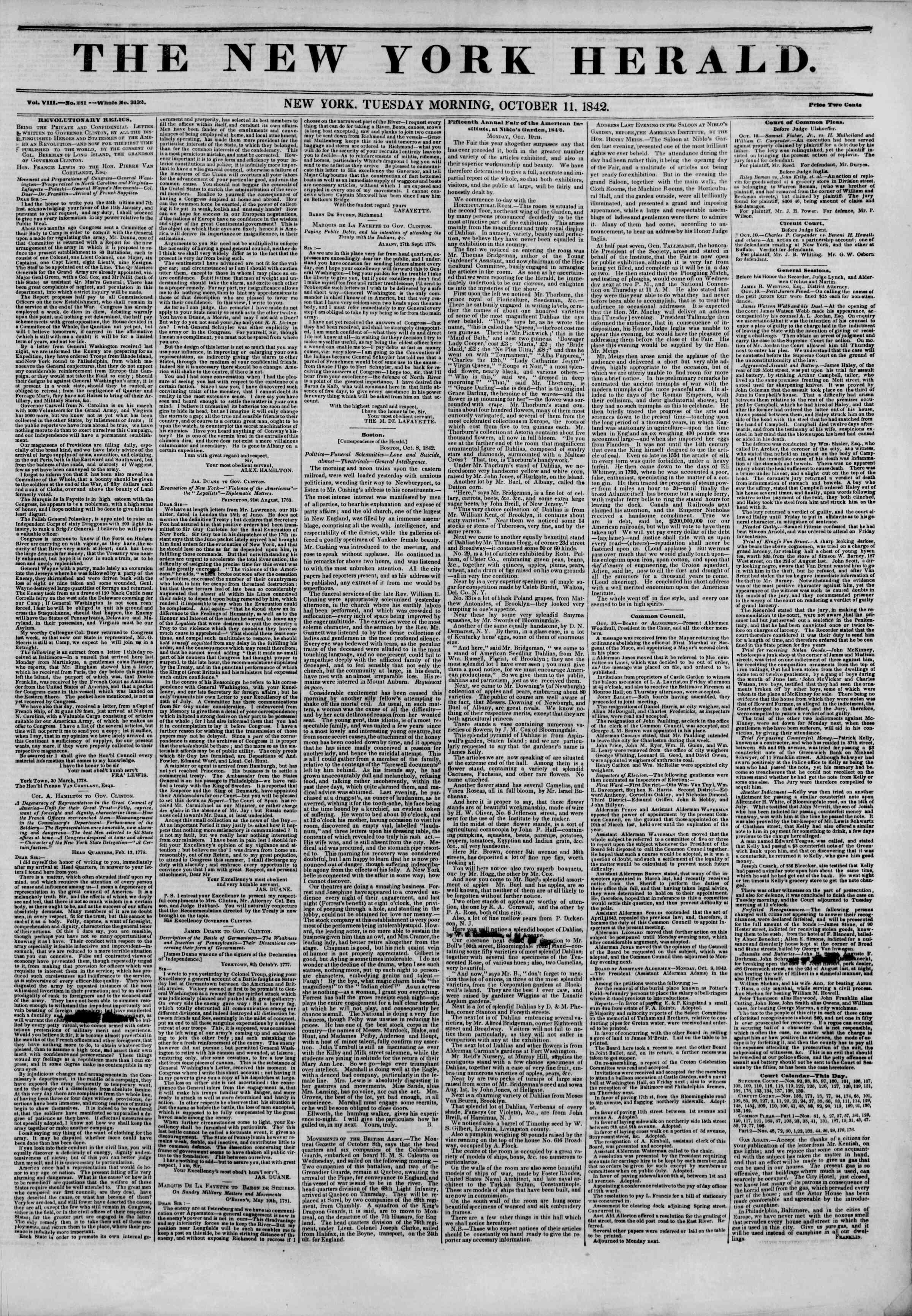 October 11, 1842 Tarihli The New York Herald Gazetesi Sayfa 1