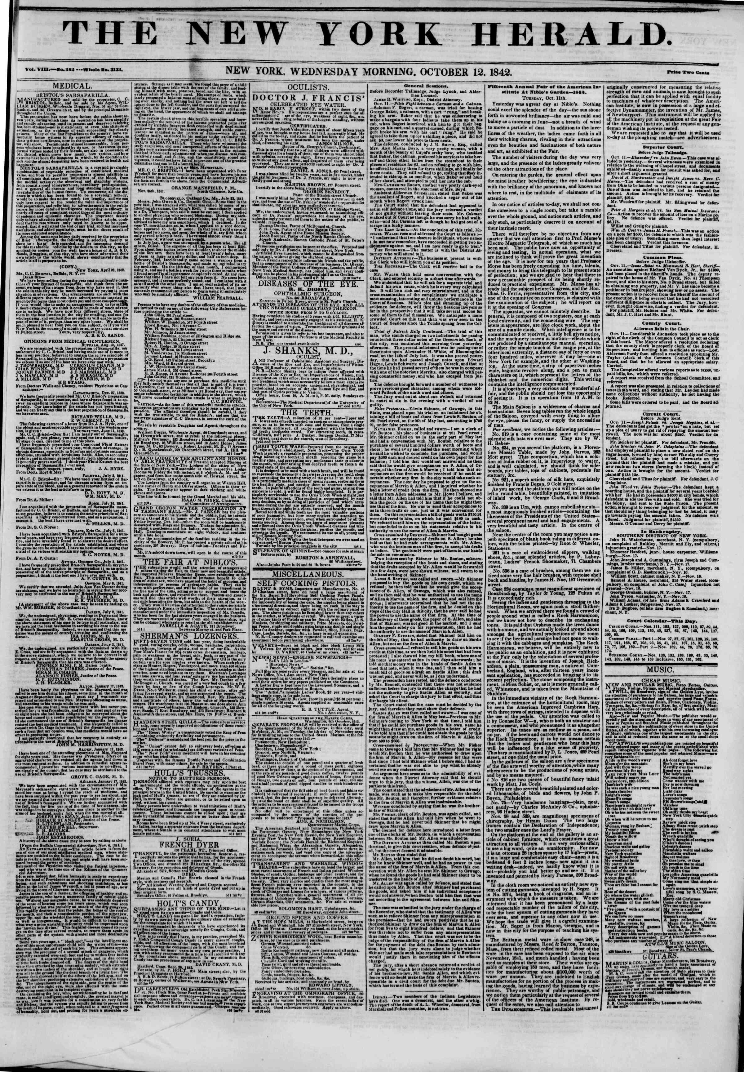 October 12, 1842 Tarihli The New York Herald Gazetesi Sayfa 1