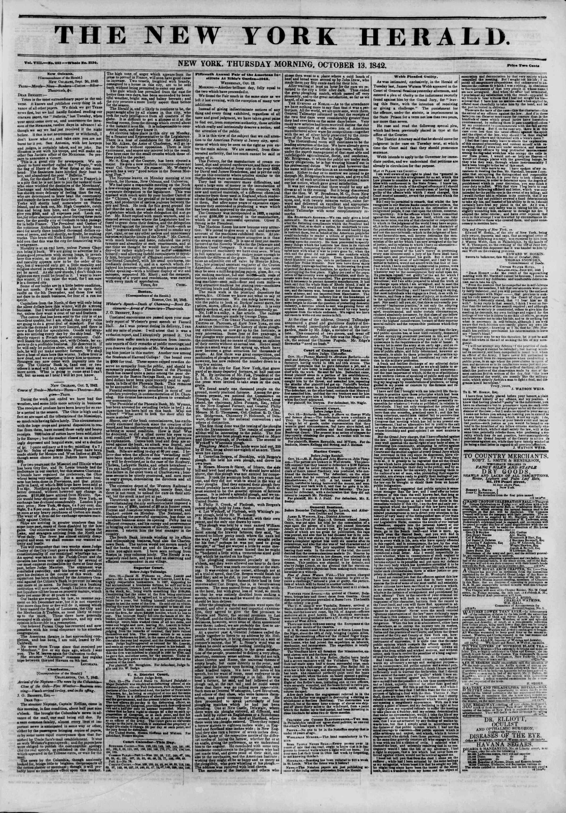 October 13, 1842 Tarihli The New York Herald Gazetesi Sayfa 1