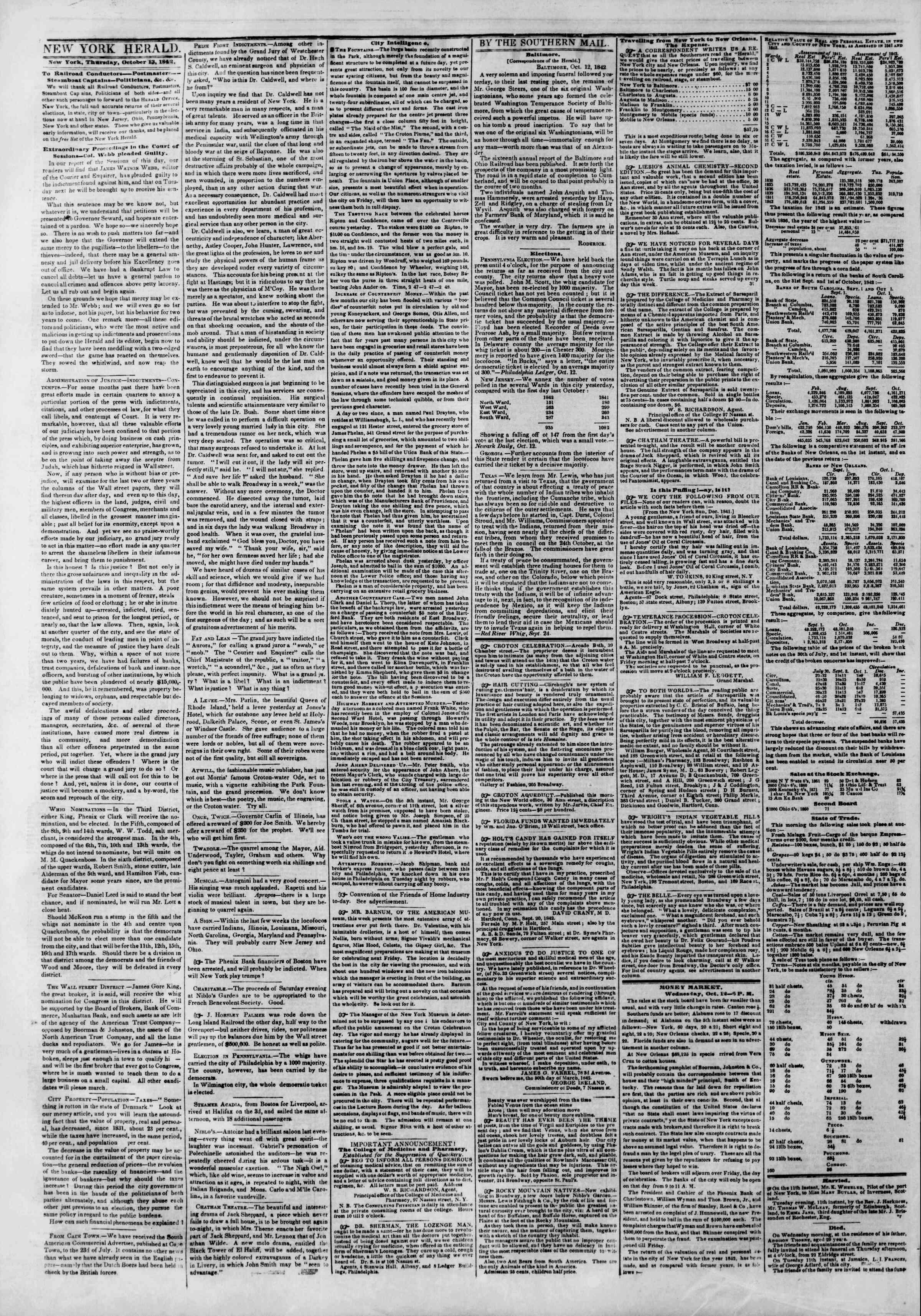 October 13, 1842 Tarihli The New York Herald Gazetesi Sayfa 2